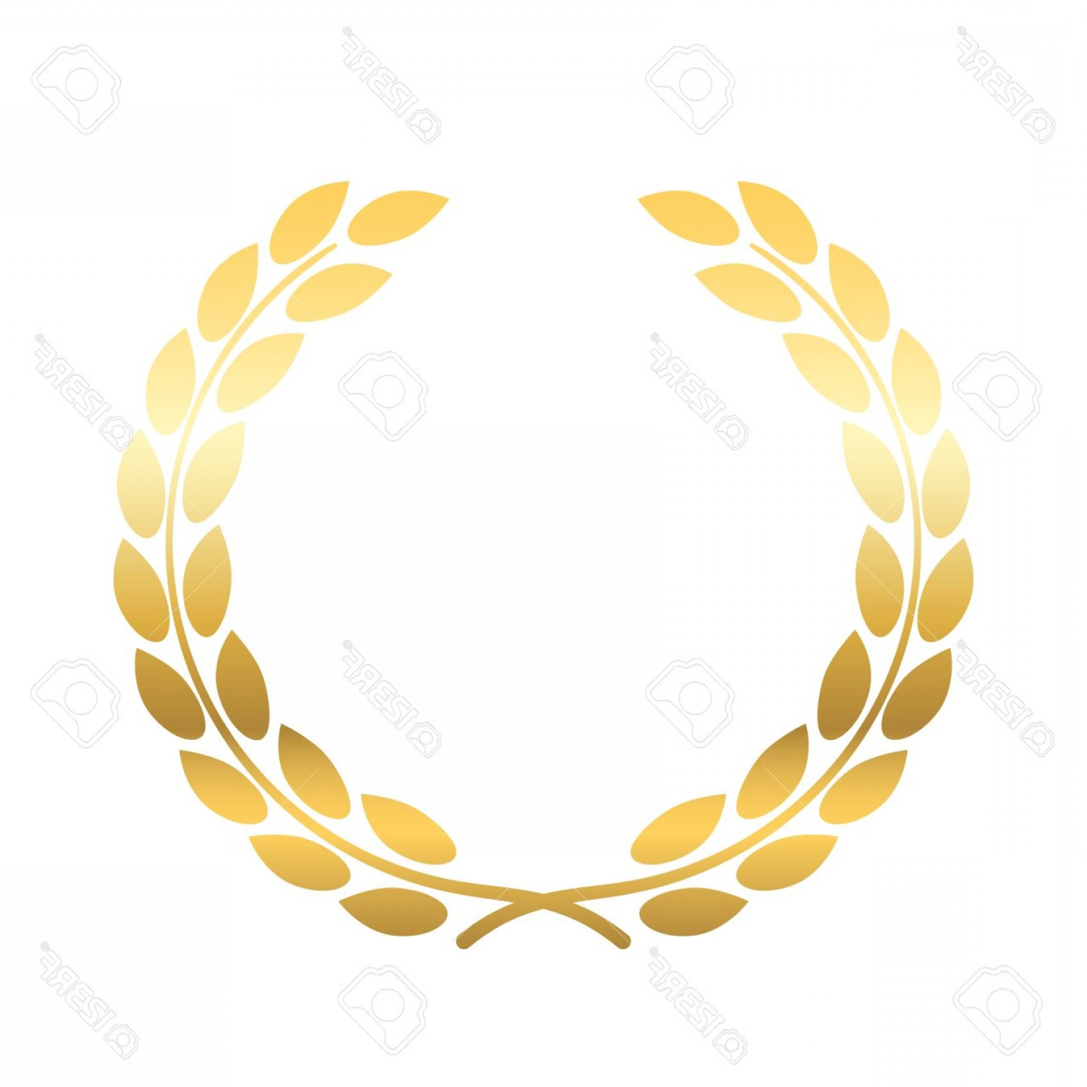 Wheat Wreath Vector Art: Photostock Vector Gold Laurel Or Wheat Wreath Icon Symbol Of Victory Achievement And Grain Natural Food Golden Design