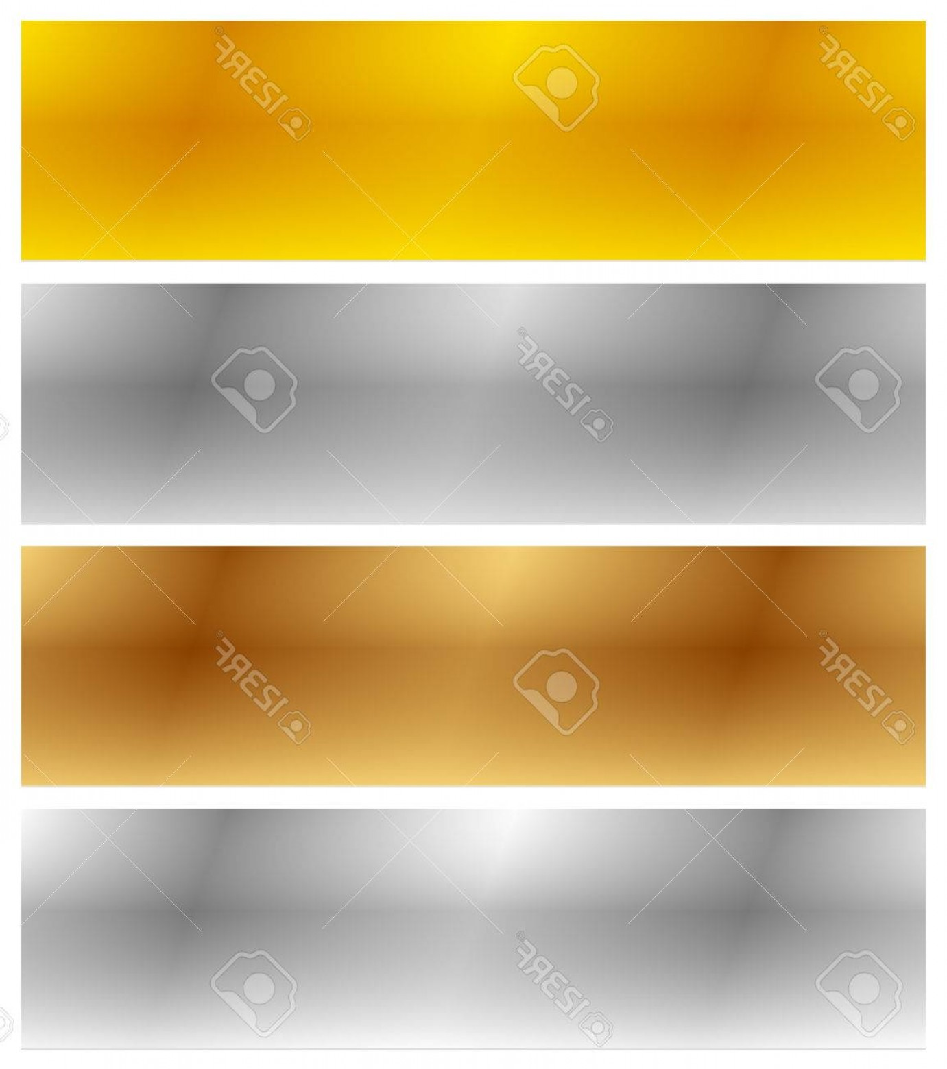 Sheet Metal Effect Vector: Photostock Vector Gold Silver Bronze And Platinum Banners With Shade Effect Blank Rectangle Metal Sheets Plates