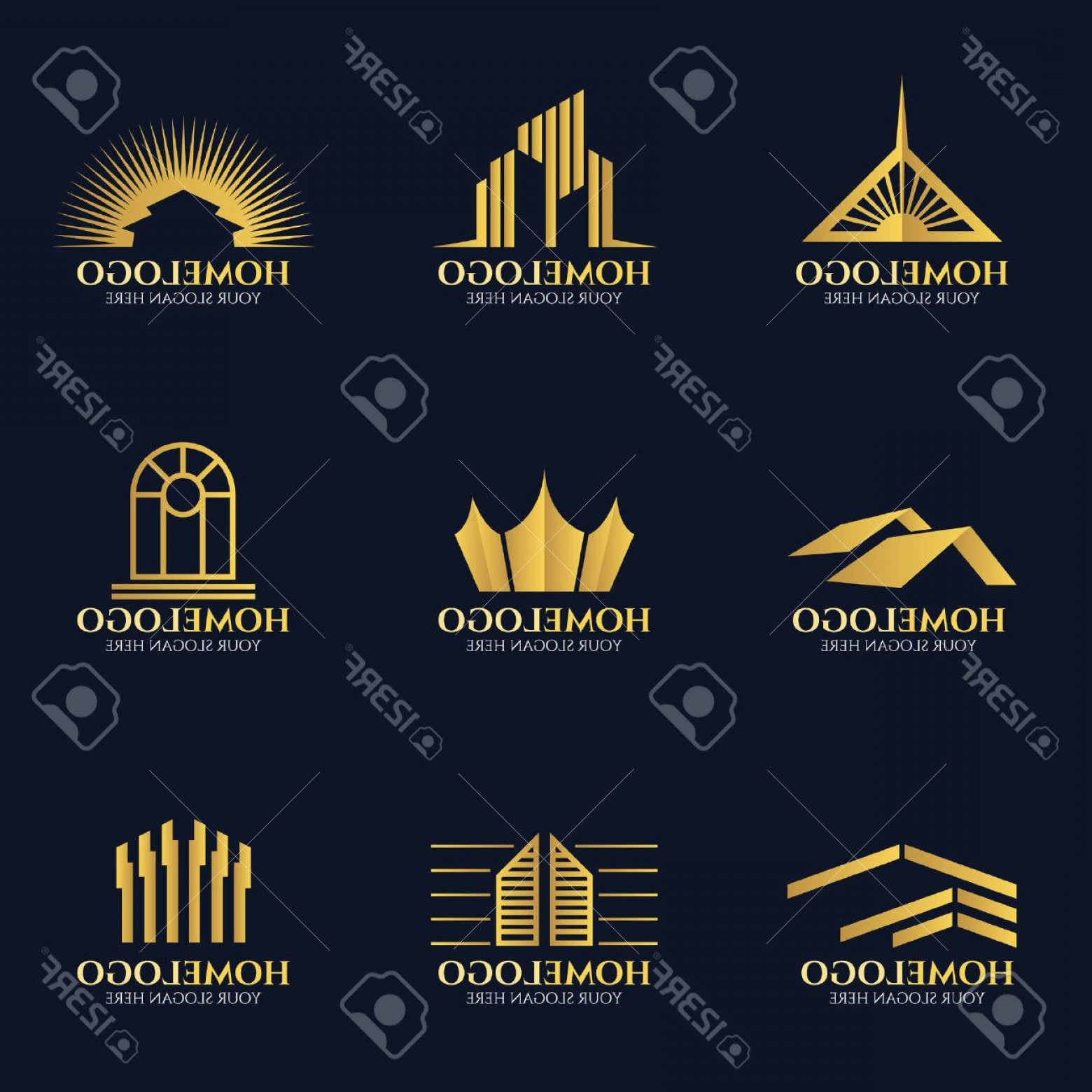 Home Logo Vector: Photostock Vector Golden Home Logo Vector Set Design