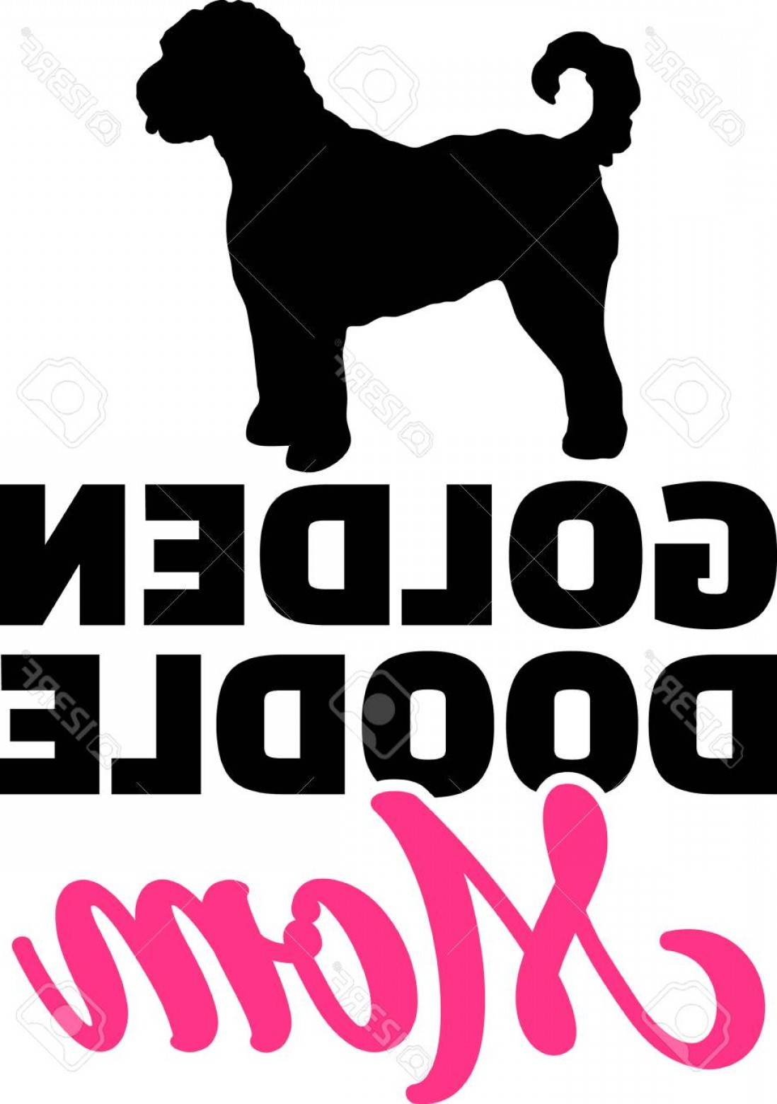 Goldendoodle Vector SVG: Photostock Vector Goldendoodle Mom Silhouette With Pink Word