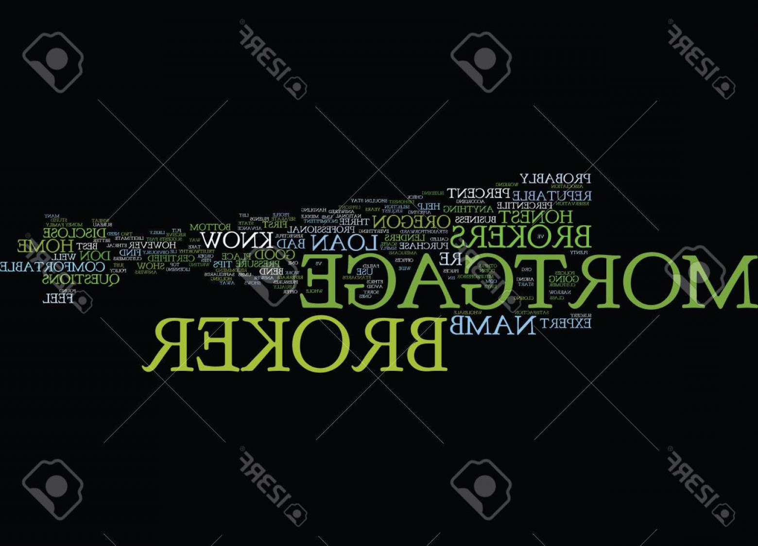 Vector Straightforward: Photostock Vector Good Mortgage Broker Vs Bad Mortgage Broker Text Background Word Cloud Concept