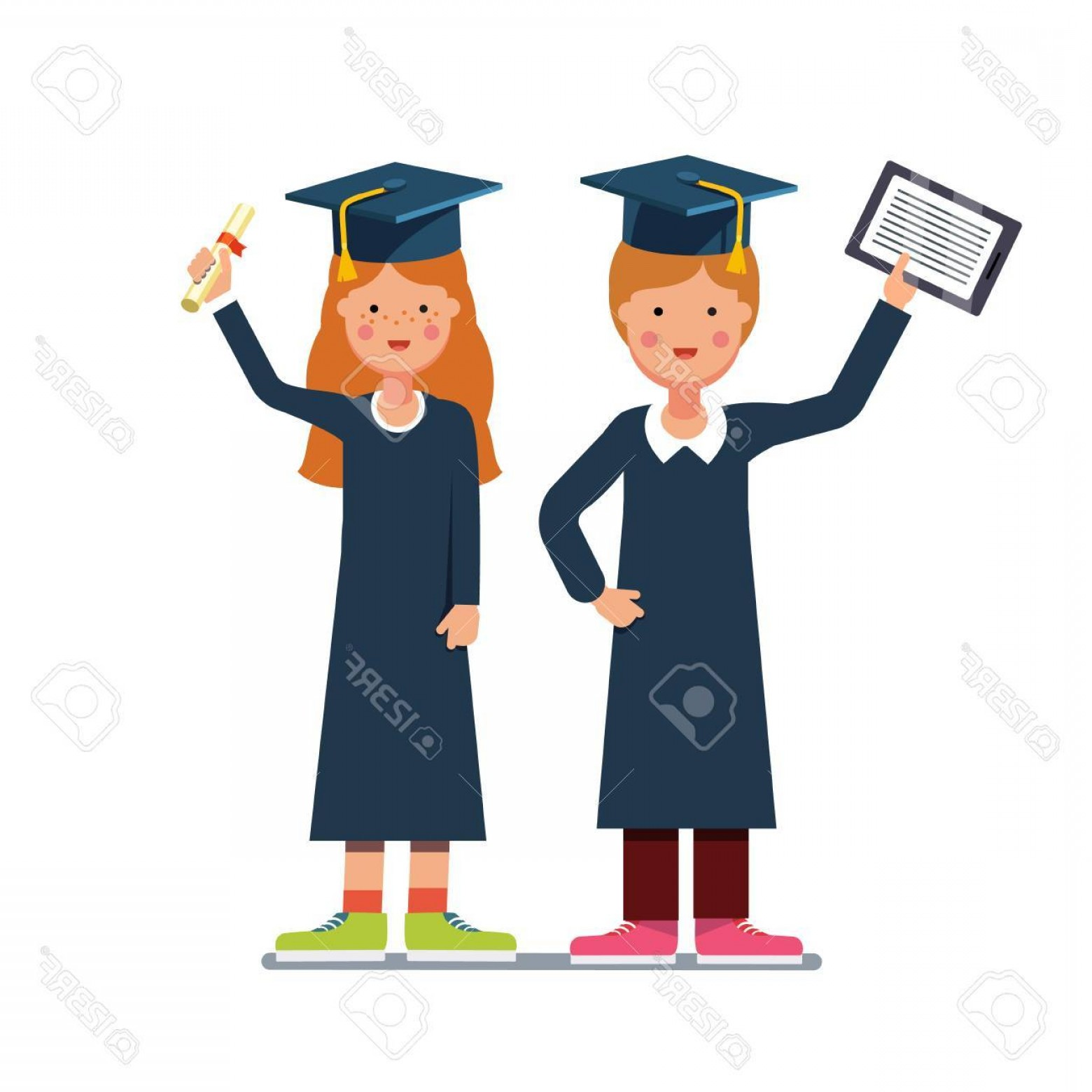 Standing Diploma Vector: Photostock Vector Graduated Students Boy And Girl In Gowns And Mortar Boards Standing With Diploma And Tablet Computer