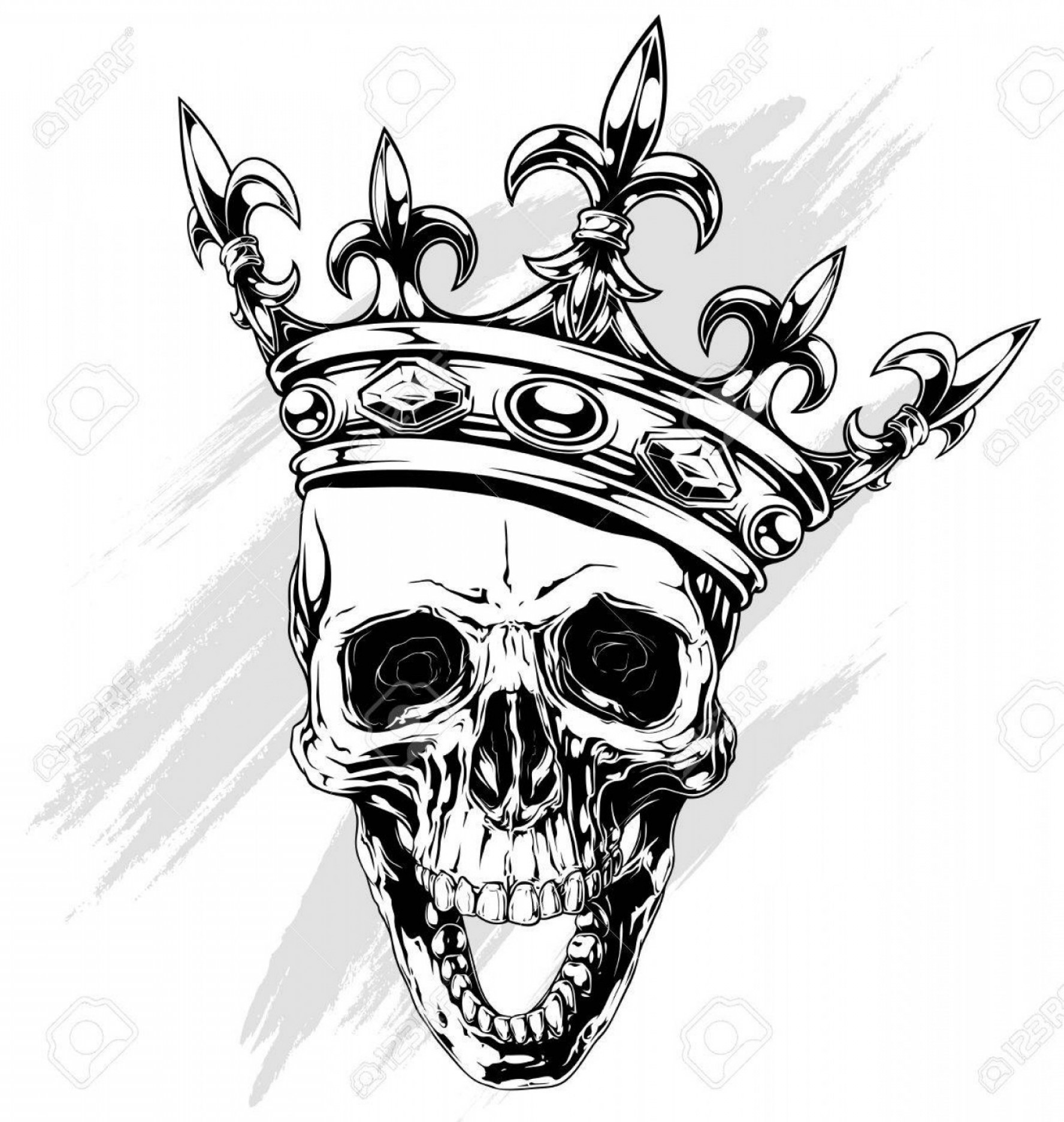 Lily Vector Art: Photostock Vector Graphic Black And White Human Skull With Royal Lily King Crown And Diamonds On White Background Vect
