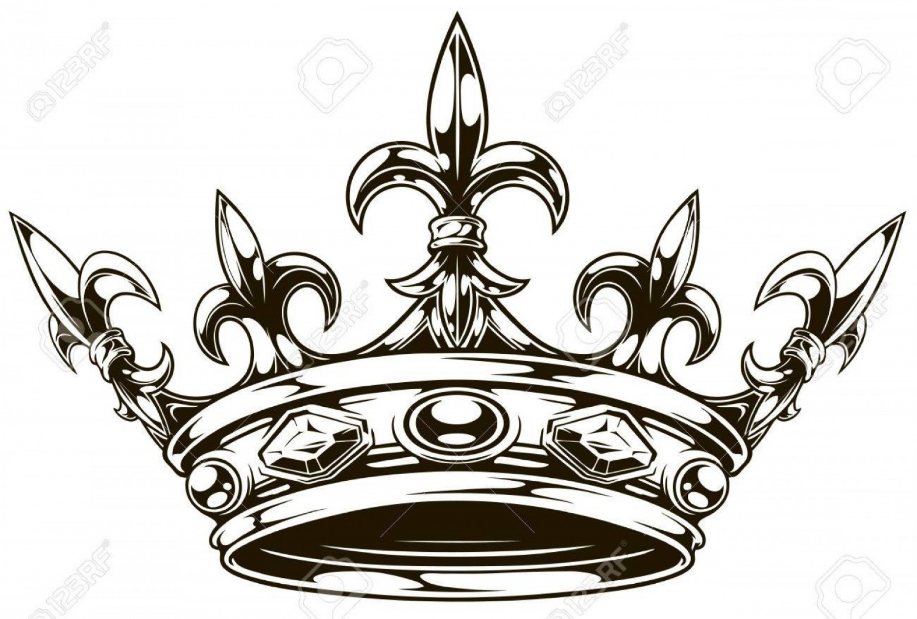 Lily Vector Art: Photostock Vector Graphic Black And White King Crown With Royal Lily And Diamonds Vector