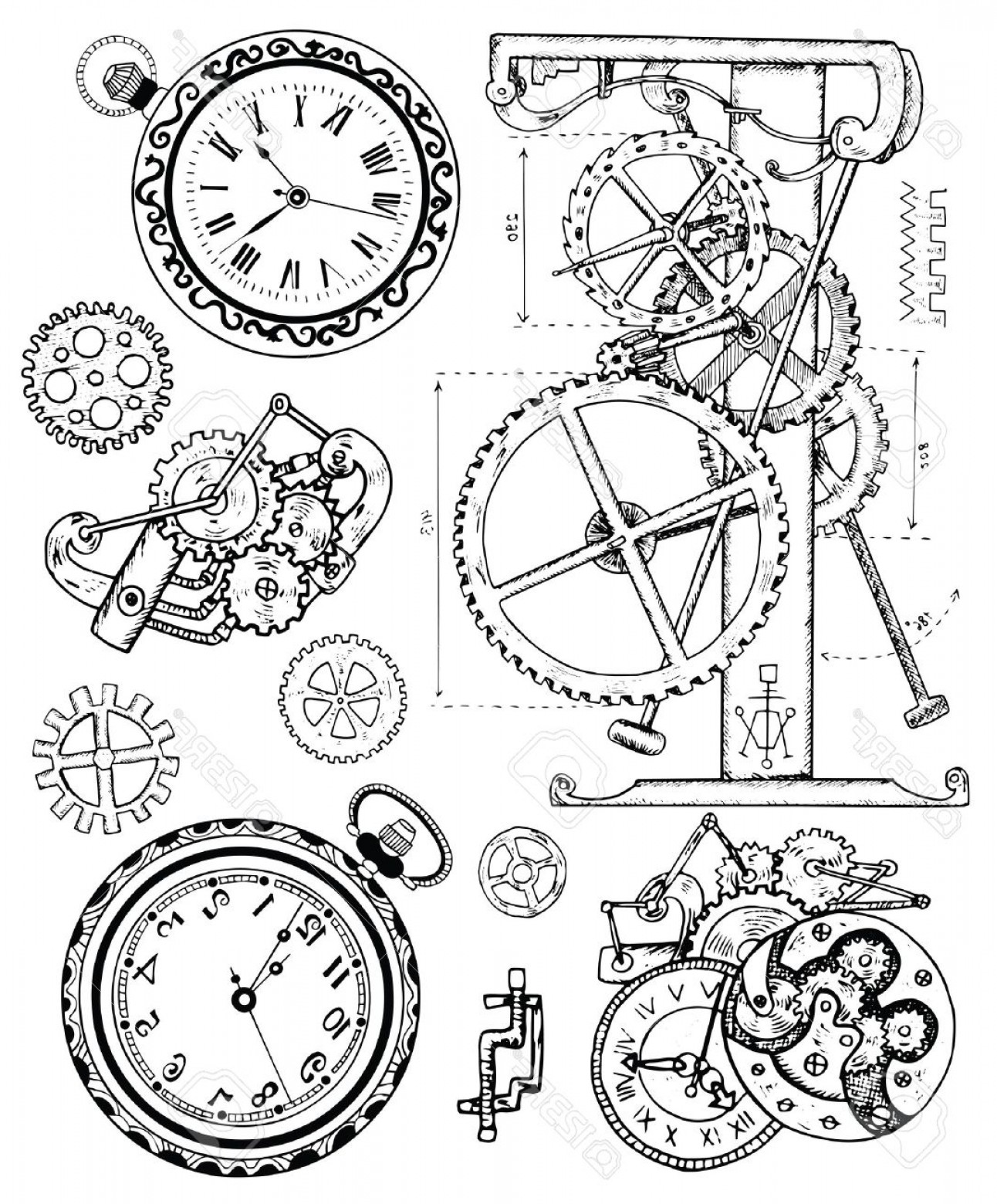 Vector Mechanical Clock Wheels: Photostock Vector Graphic Set With Vintage Clock Mechanism In Steampunk Style Hand Drawn Illustration Sketch Tattoo Ol