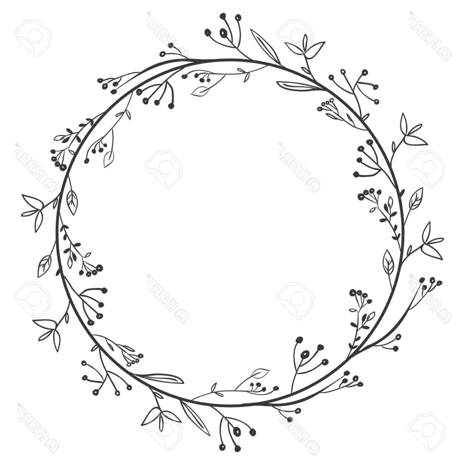 Floral Vector Illustration: Photostock Vector Gray Scale Decorative Simple Crown Floral Vector Illustration