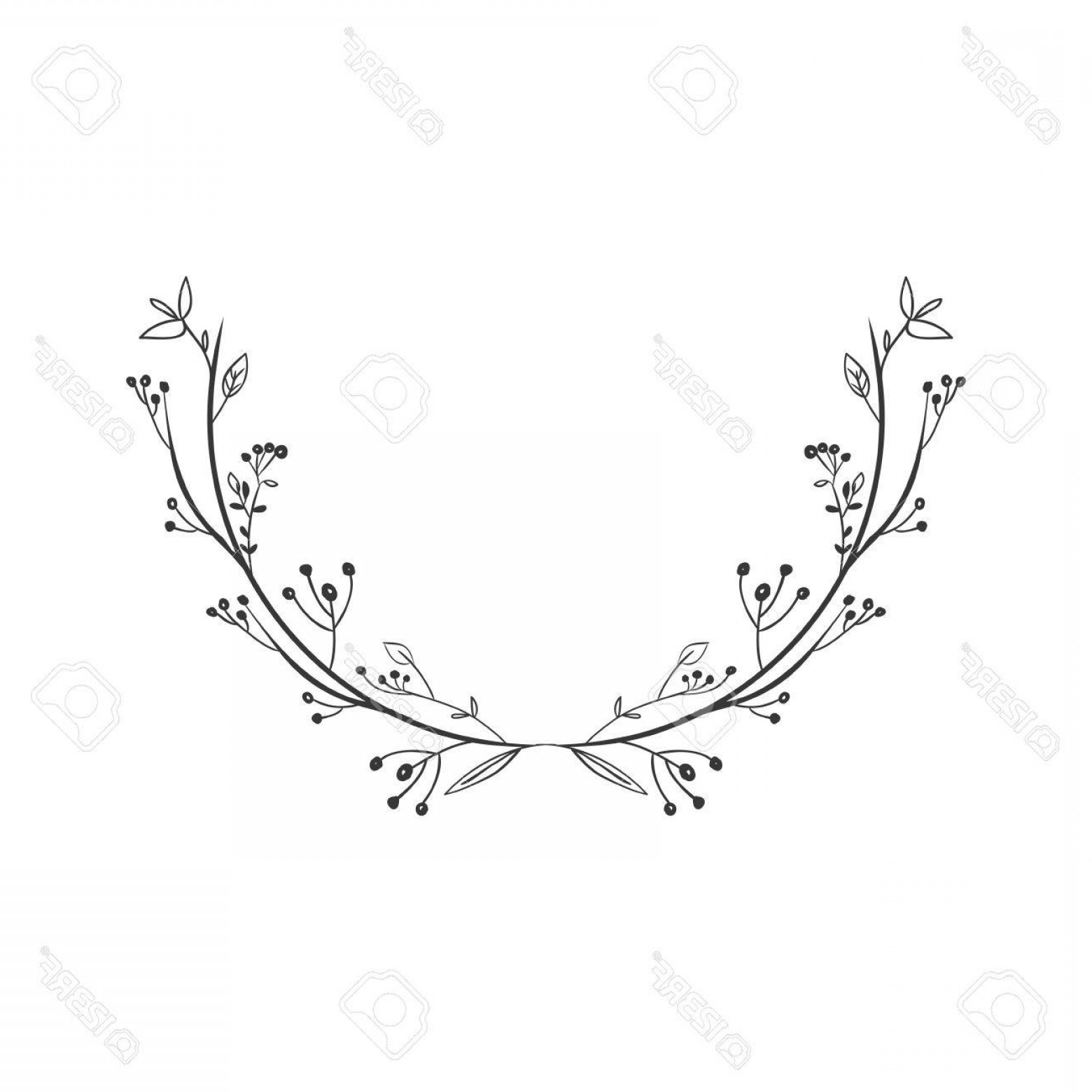 Floral Vector Illustration: Photostock Vector Gray Scale Decorative Simple Half Crown Floral Vector Illustration