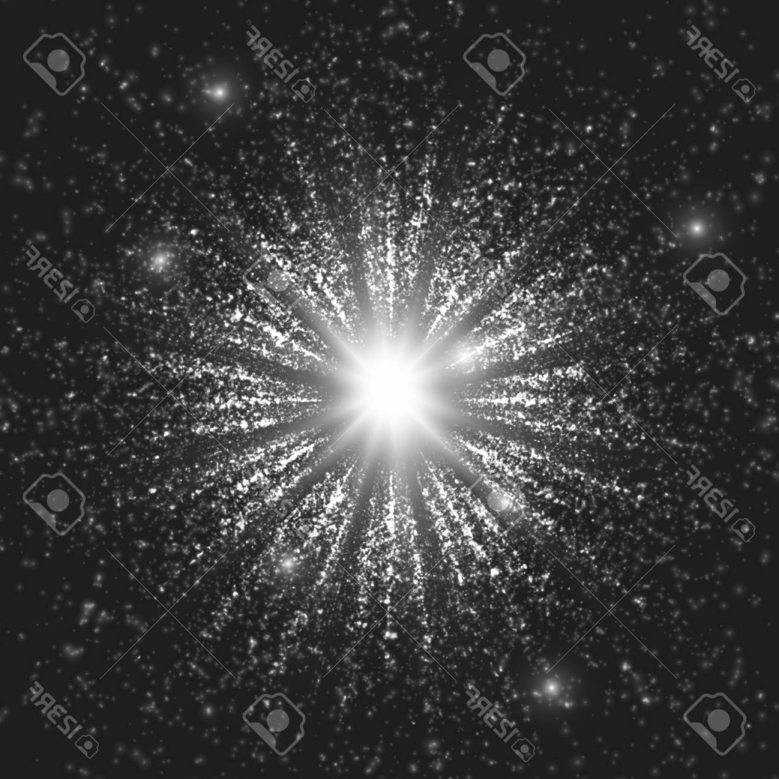 Vector-Based Grayscale Christmas: Photostock Vector Grayscale Space Background Explosion Of Glowing Particles Christmas Star Futuristic Technology Style