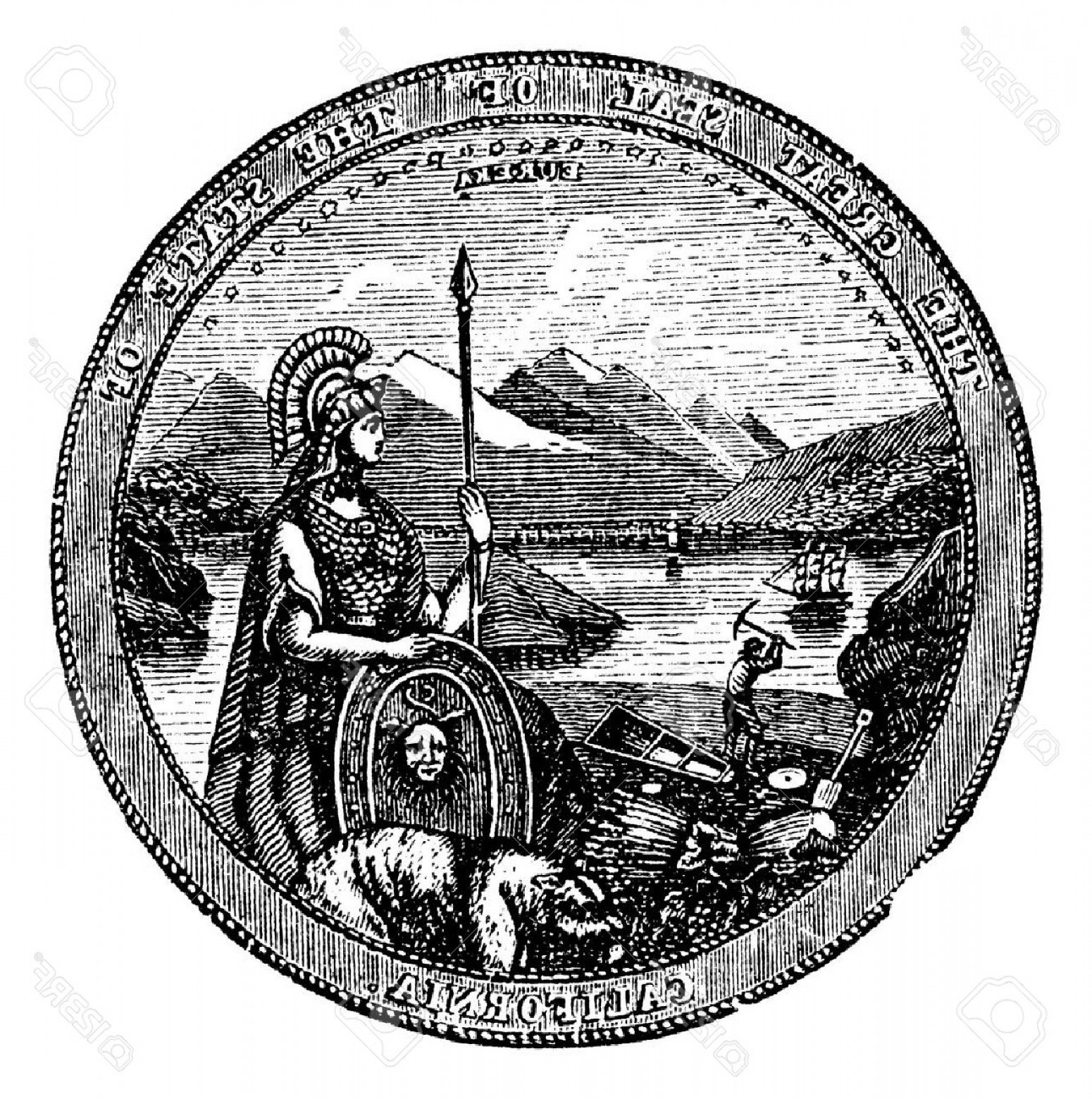 California Seal Vector EPS: Photostock Vector Great Seal Of The State Of California Vintage Engraving Vintage Engraved Illustration Of The Seal Of