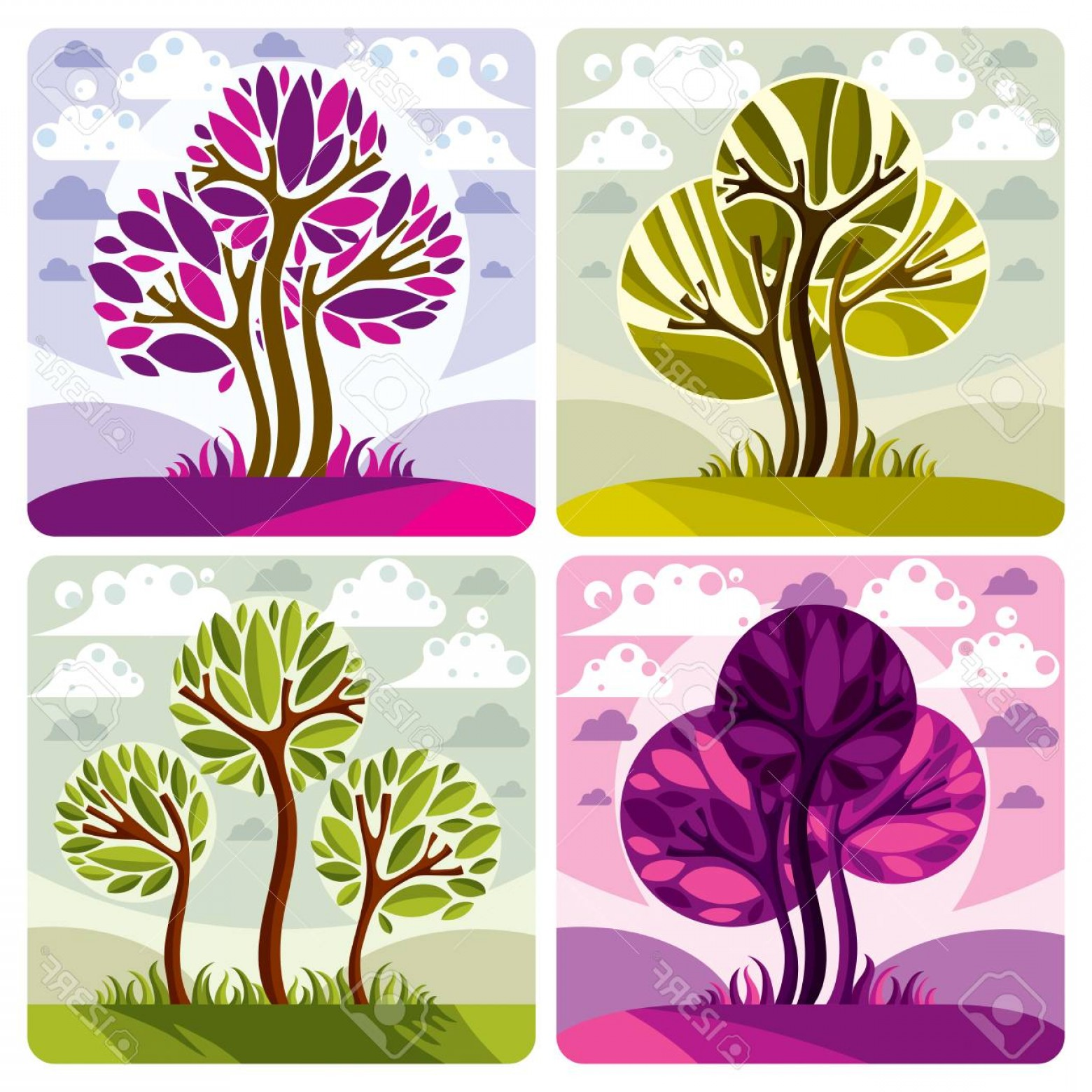 Purple Tree Vector: Photostock Vector Green And Purple Trees Placed On Cloudy Background Environment And Ecology Idea Vector Image Vector