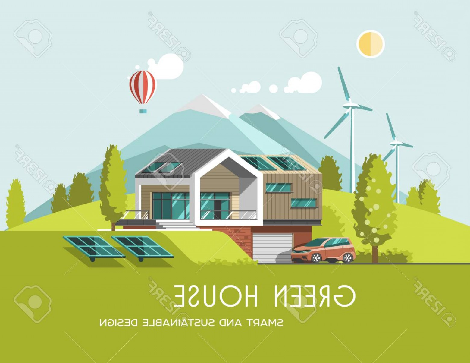 Vector Modern Tree House: Photostock Vector Green Energy And Eco Friendly Modern House On Mountain Landscape Background Solar Wind Power