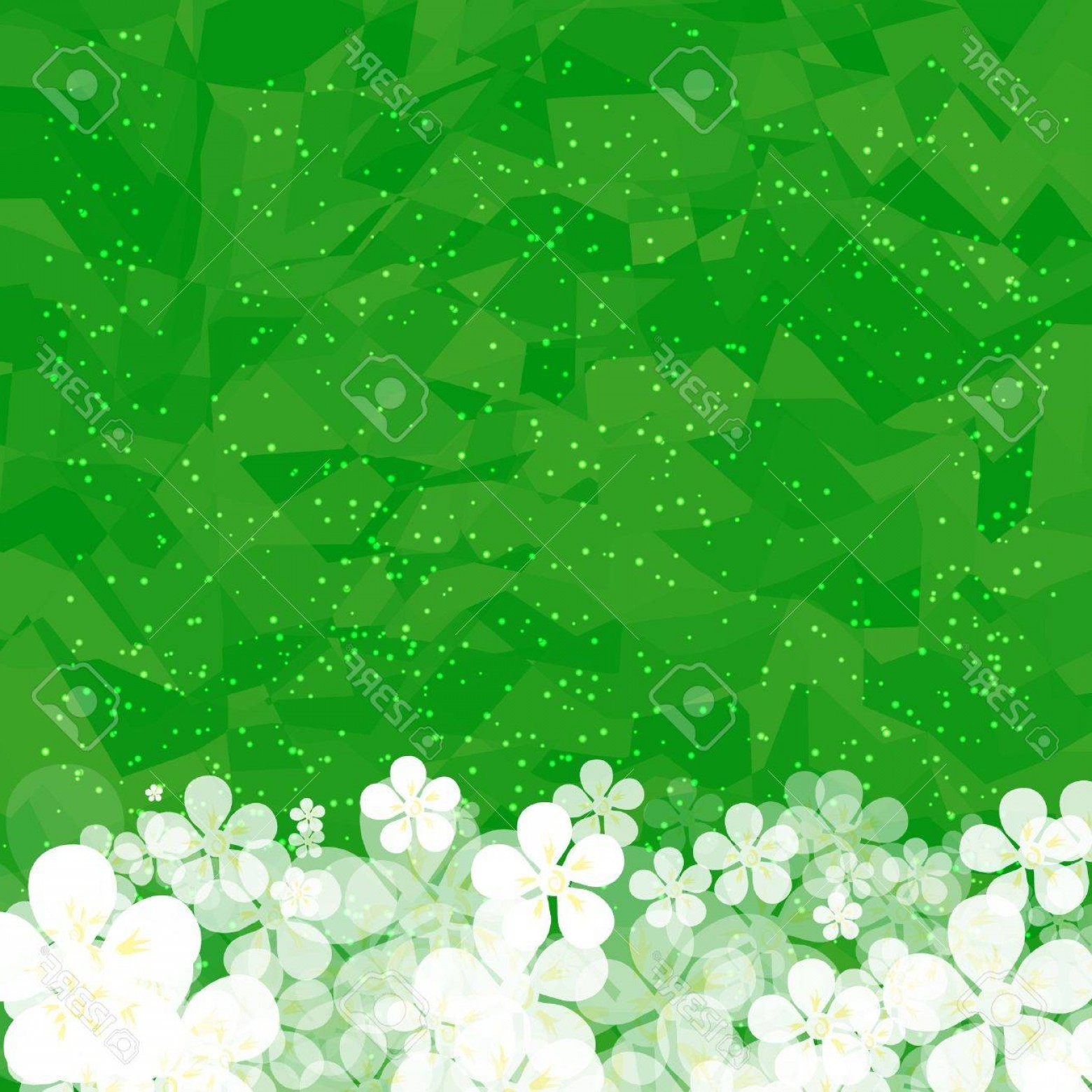Green Flower Vector Designs: Photostock Vector Green Floral Background With Gentle Flowers Eco Design With Geometrical Basis