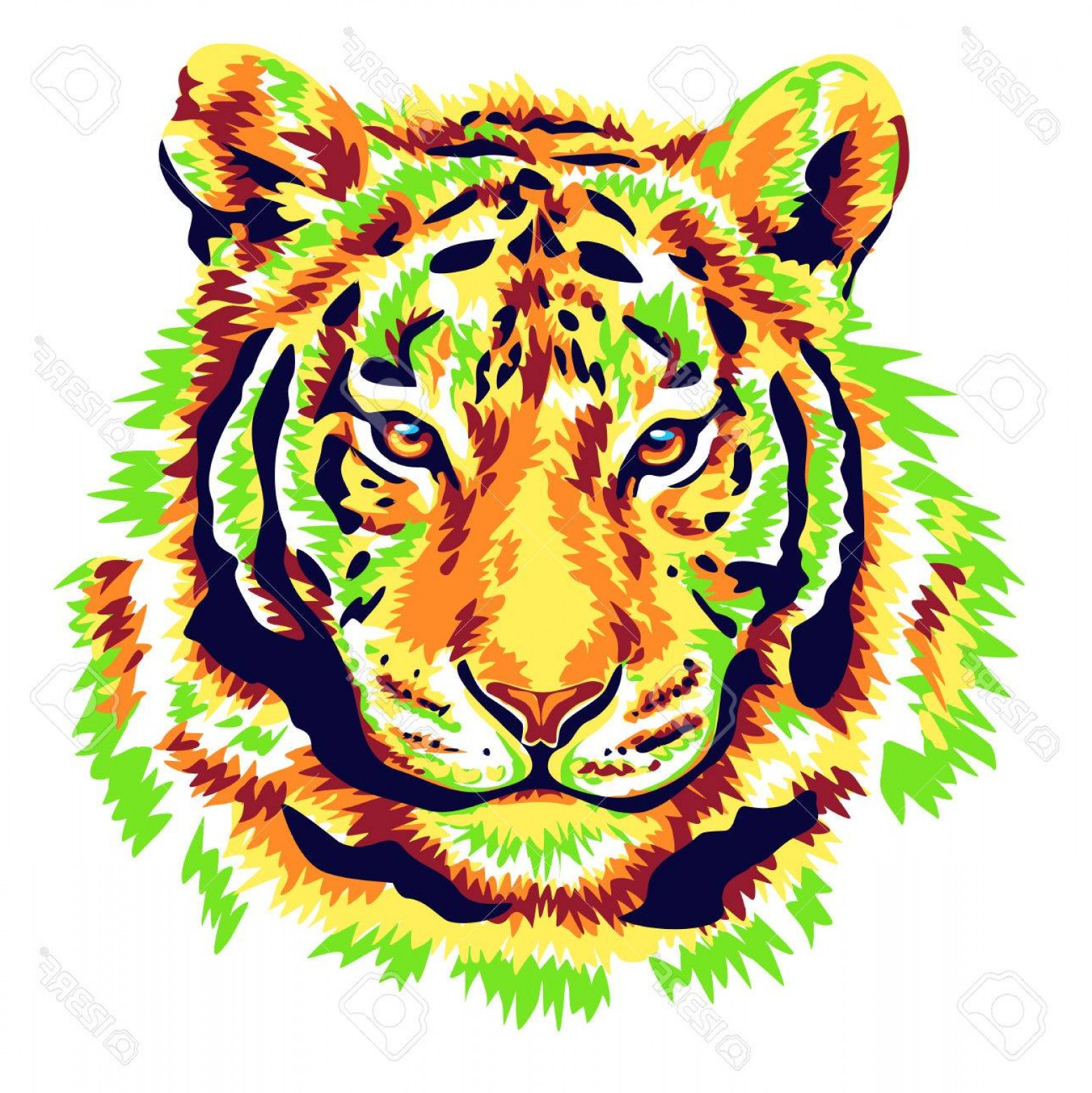 Green Tiger Vector: Photostock Vector Green Tiger Illustration Vector