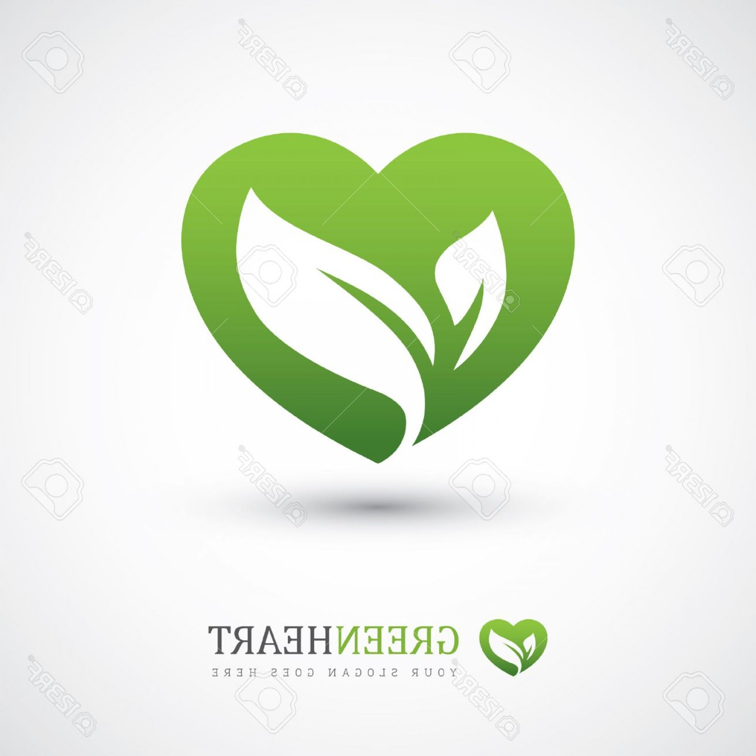 Vegan Heart Vectors: Photostock Vector Green Vector Icon With Heart Shape And Two Leaves Can Be Used For Eco Vegan Herbal Healthcare Or Nat
