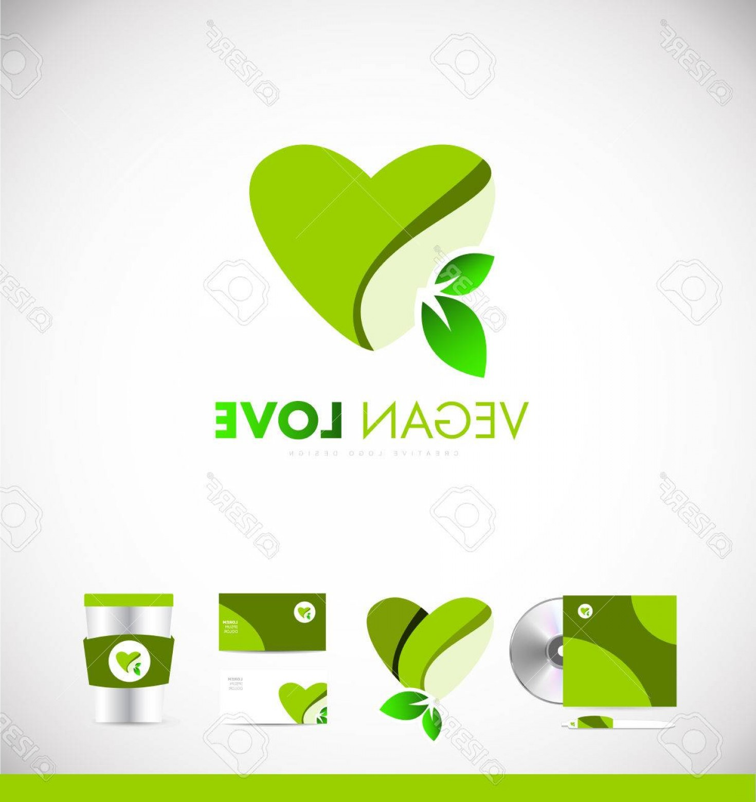 Vegan Heart Vectors: Photostock Vector Green Vegan Heart Leaf Love Concept Vector Logo Icon Sign Design Template Corporate Identity