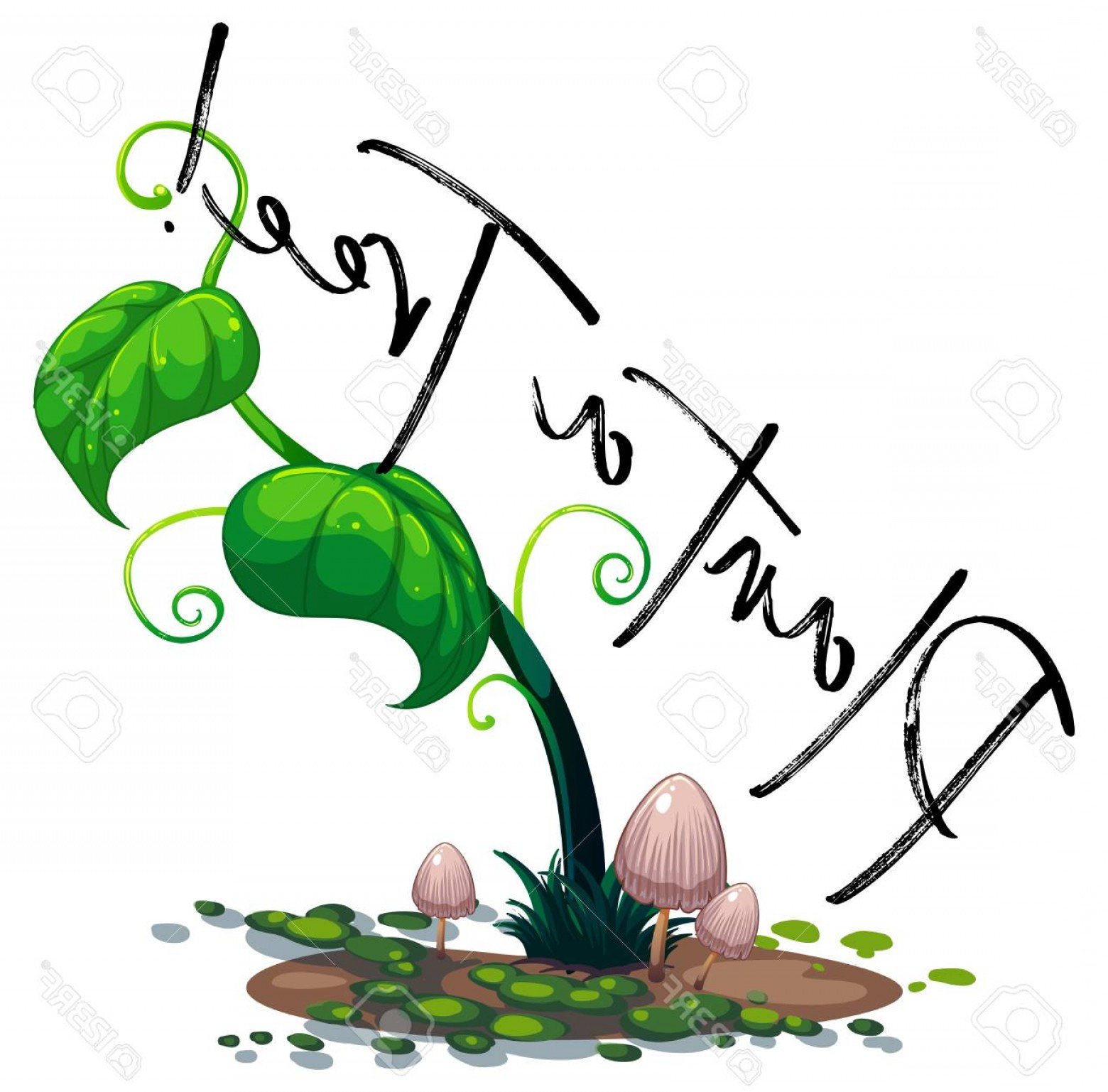 Green Vine Vector: Photostock Vector Green Vine And Word Plant A Tree Illustration