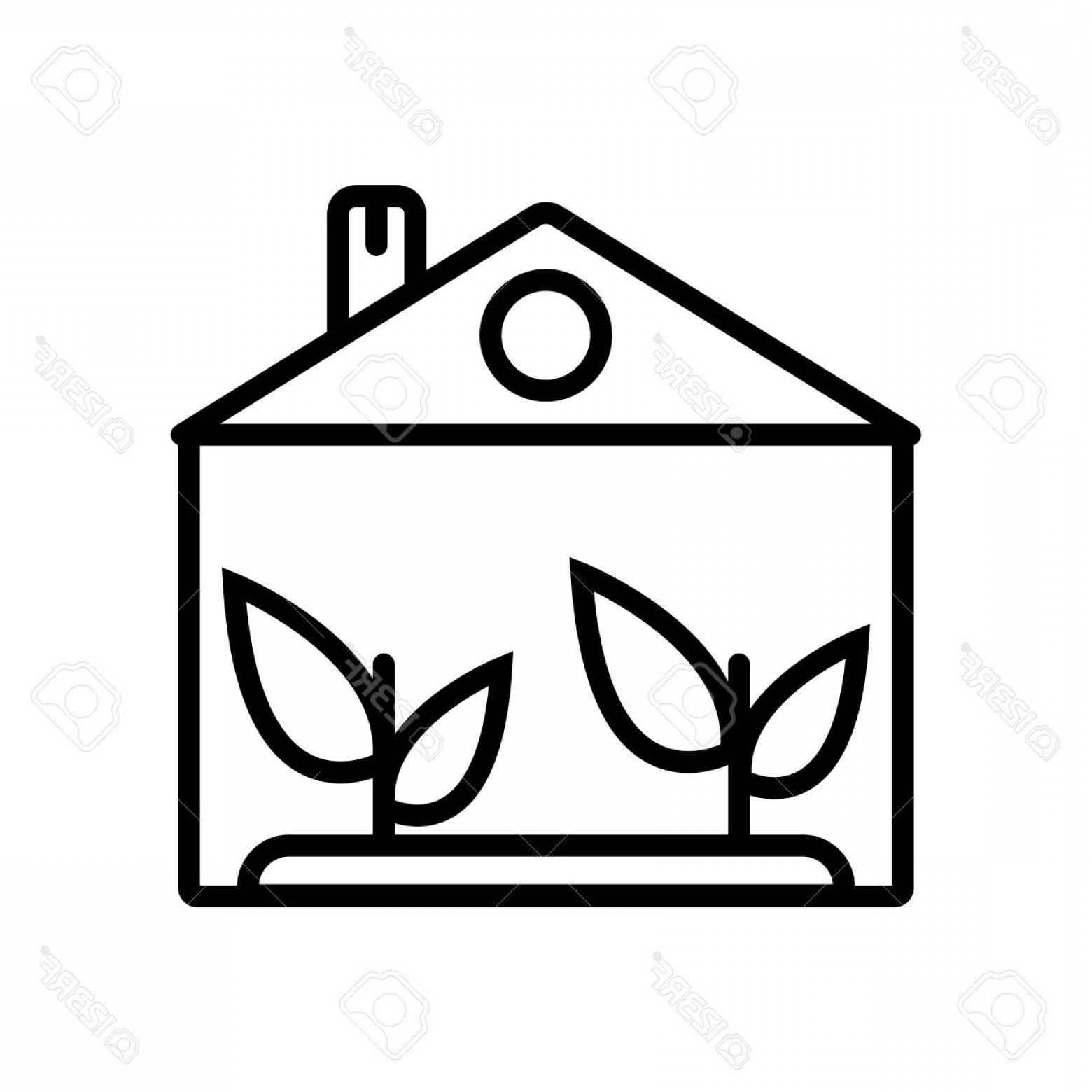 Black And White Vector Greenhouse: Photostock Vector Greenhouse Icon Vector Isolated On White Background