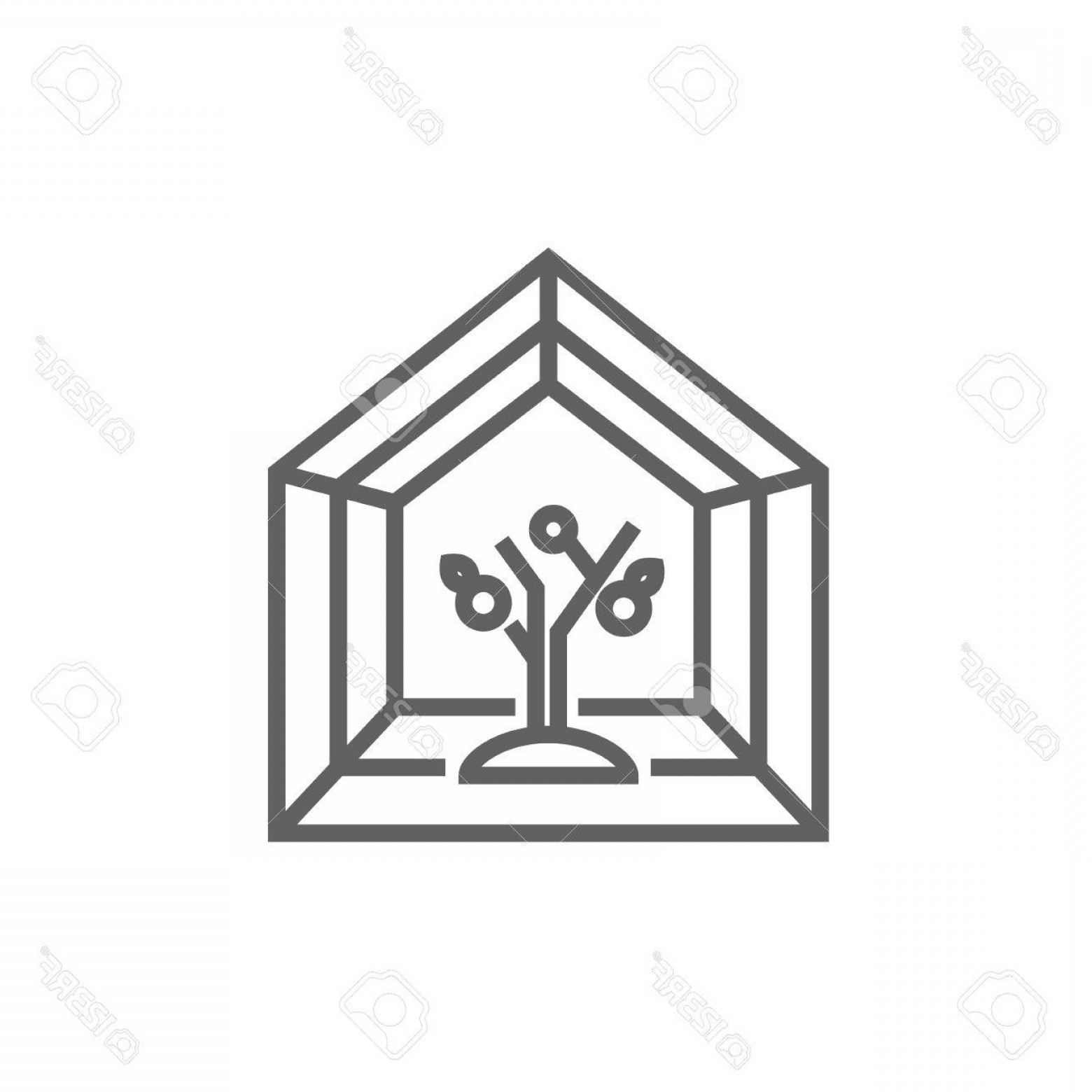 Black And White Vector Greenhouse: Photostock Vector Greenhouse Line Icon For Web Mobile And Infographics Vector Dark Grey Icon Isolated On White Backgro