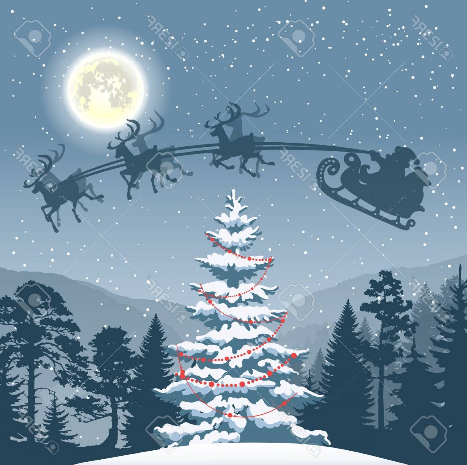 Vector-Based Grayscale Christmas: Photostock Vector Greyscale Christmas Design Element With Fir Tree In Forest Moon Santa Claus And Flying Reindeers For