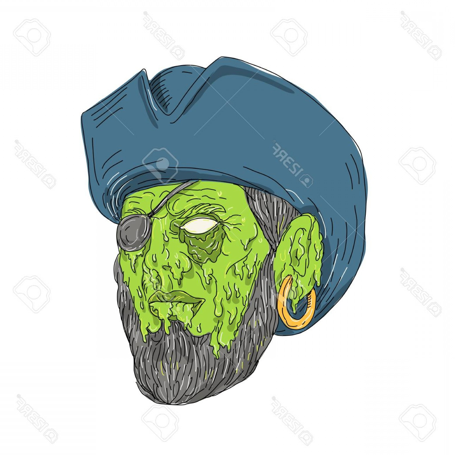 Grime Vector Pack: Photostock Vector Grime Art Style Illustration Of A Buccaneer Pirate Privateer Wearing A Tricorne Hat And Eye Patch On