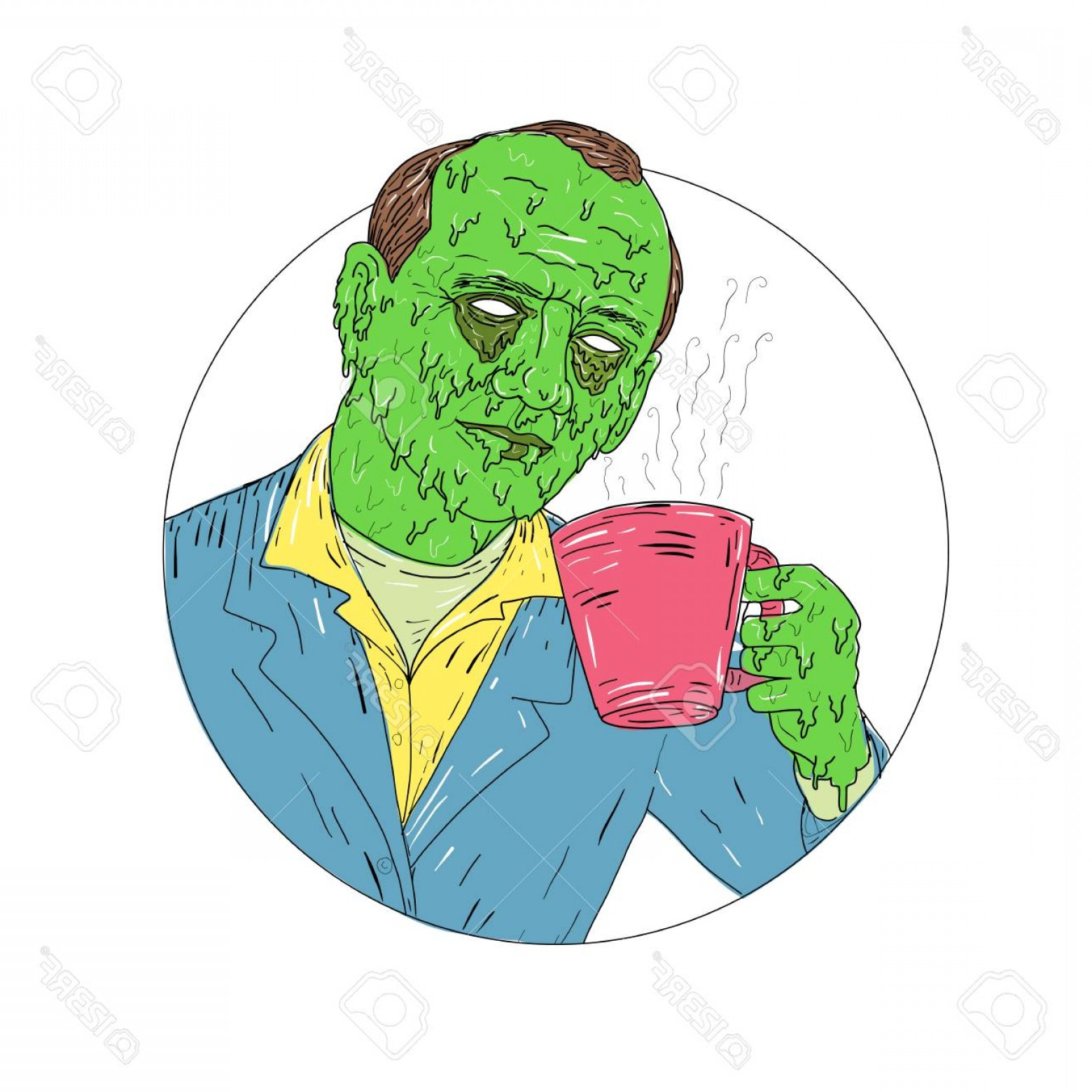 Grime Vector Pack: Photostock Vector Grime Art Style Illustration Of An Asian Dude Gentleman Drinking Coffee Set Inside Circle On Isolate