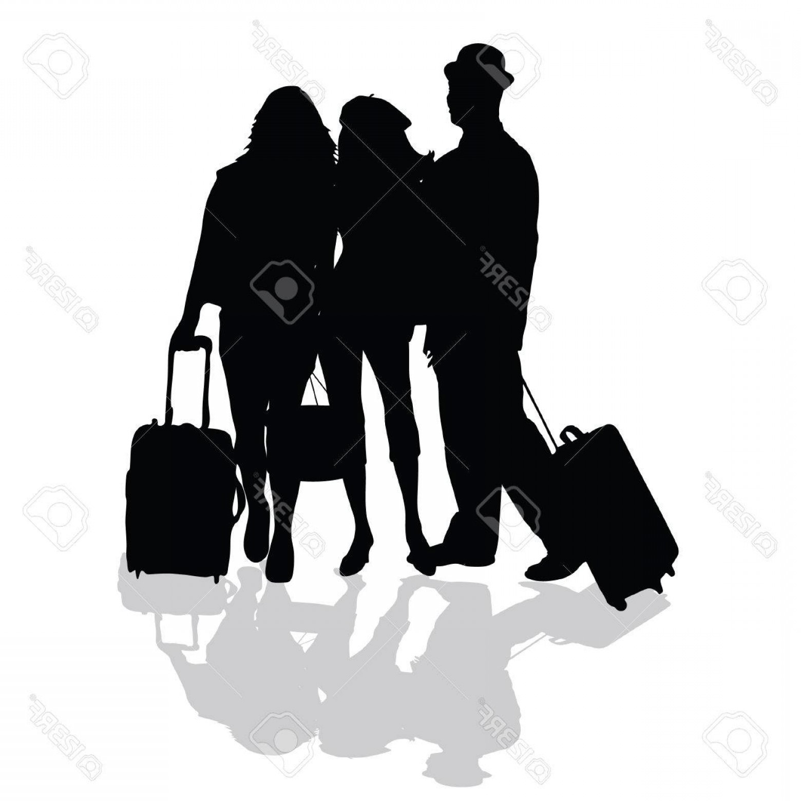 Sillouhette Vector Group: Photostock Vector Group Is Ready To Travel Art In Black Silhouette