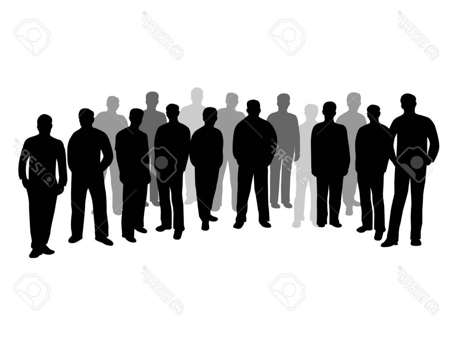 Sillouhette Vector Group: Photostock Vector Group Of Business People Businessmen Silhouette Isolated On White Background