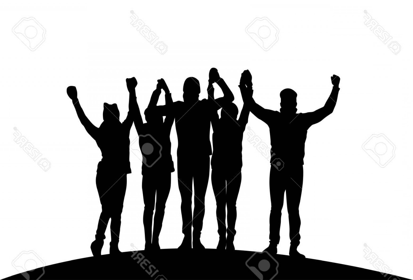 Sillouhette Vector Group: Photostock Vector Group Of Businesspeople Holding Raised Hands Happy Successful Team Black Silhouettes Vector Illustra