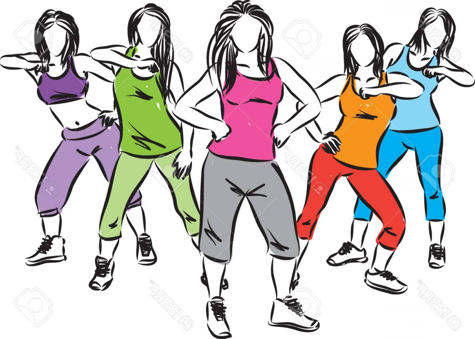 Zumba Vector Illustration: Photostock Vector Group Of Fitness Women Dancers Illustration