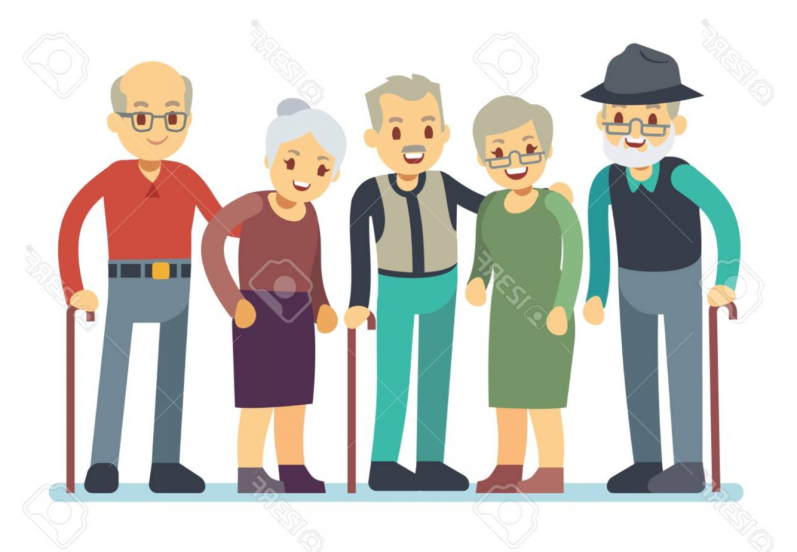 Happy Elderly Vector: Photostock Vector Group Of Old People Cartoon Characters Happy Elderly Friends Vector Illustration Grandmother And Gra
