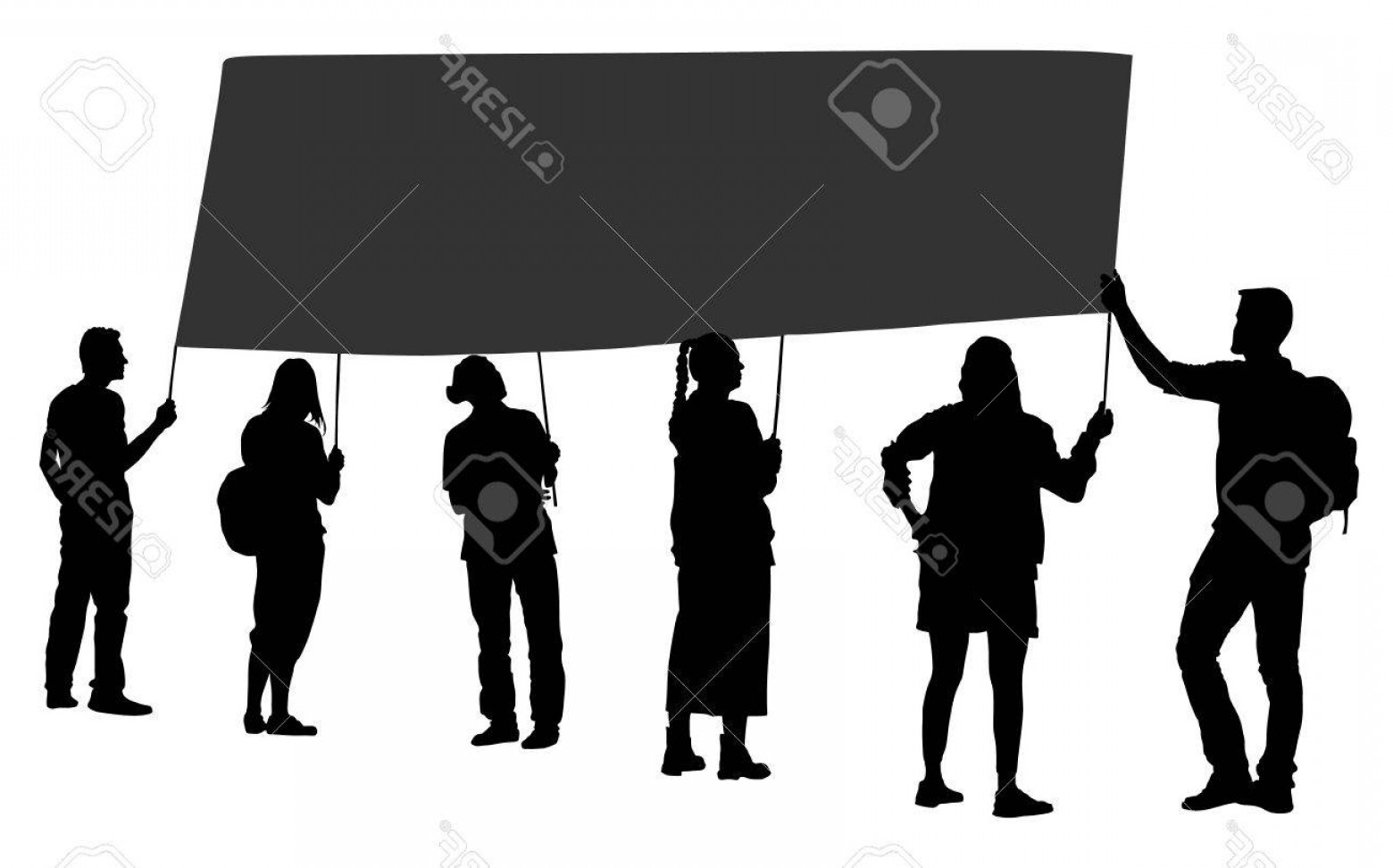 Sillouhette Vector Group: Photostock Vector Group Of Protester Vector Silhouette Illustration Hand Holding Sign Man Hand Empty Editable Plate Is