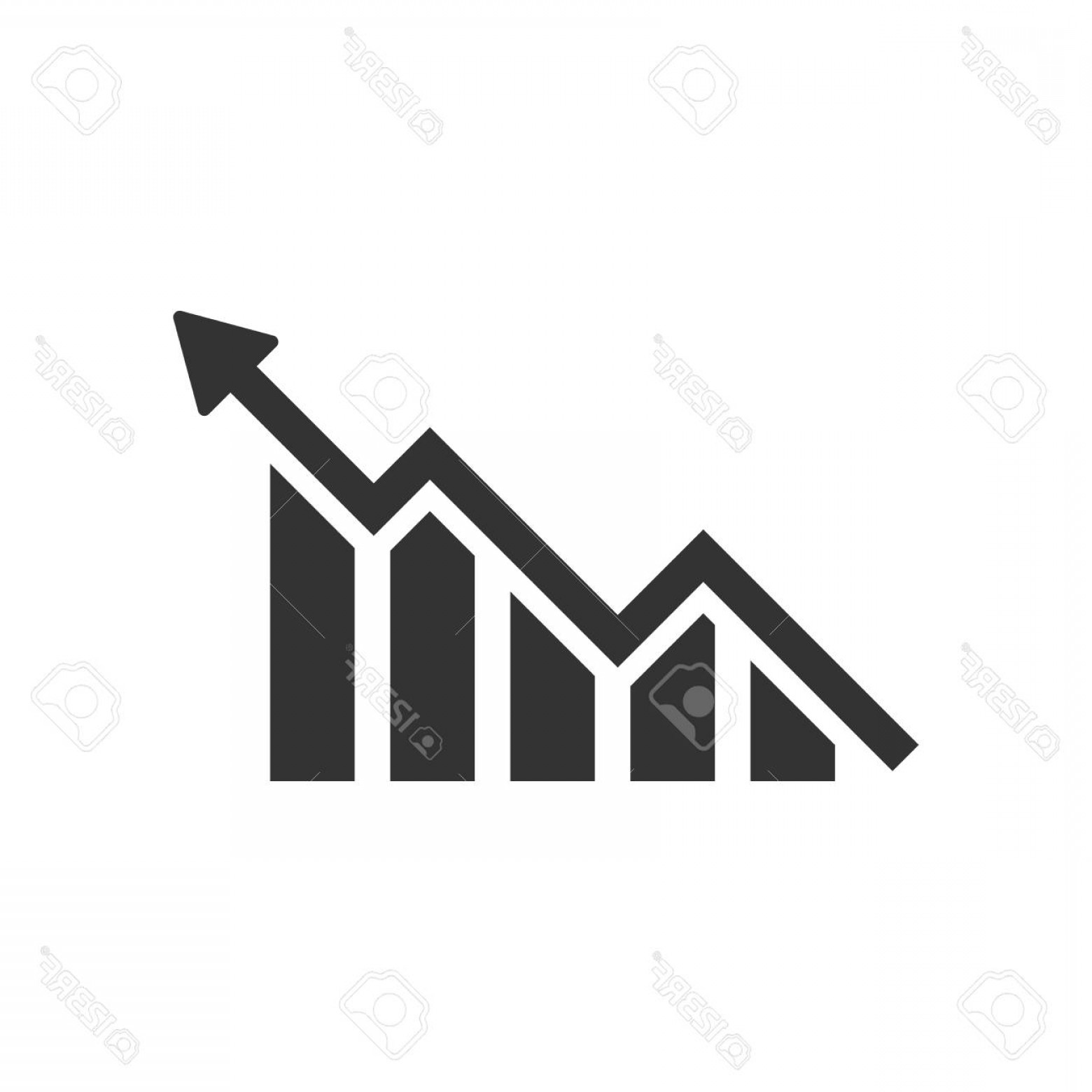Bar Graph Icon Vector: Photostock Vector Growing Bar Graph Icon In Flat Style Increase Arrow Vector Illustration On White Isolated Background