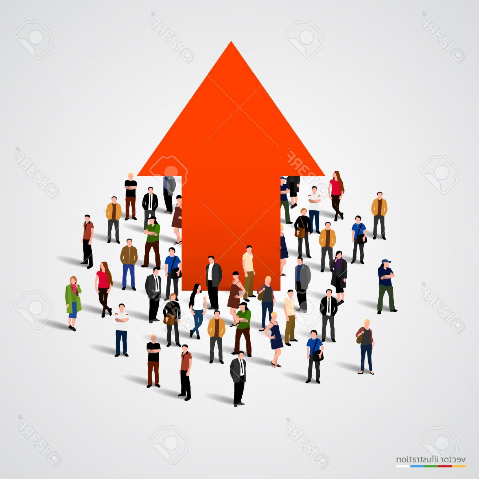 Growth Vector People: Photostock Vector Growth Chart And Progress In People Crowd Vector Illustration