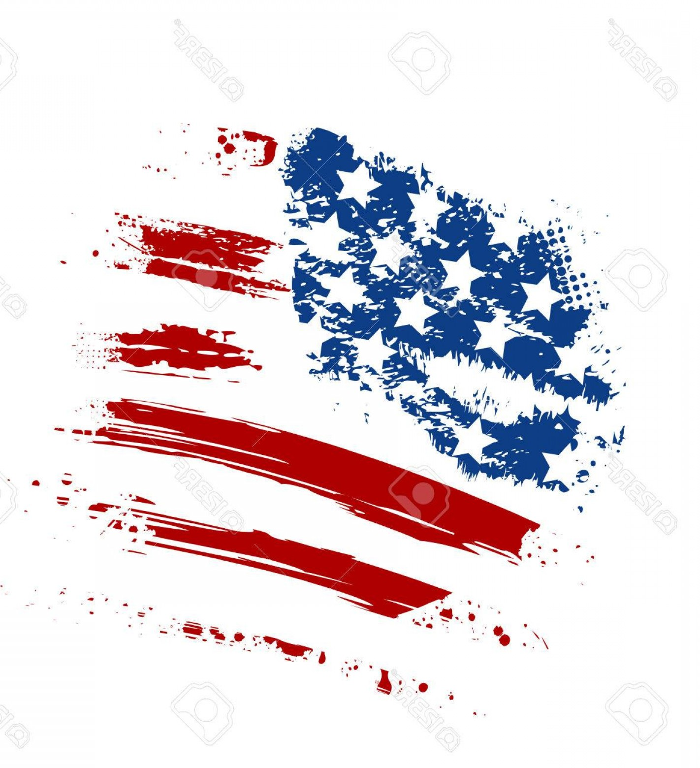 US Flag Vector Lines: Photostock Vector Grunge American Usa Flag Splattered Star And Stripes