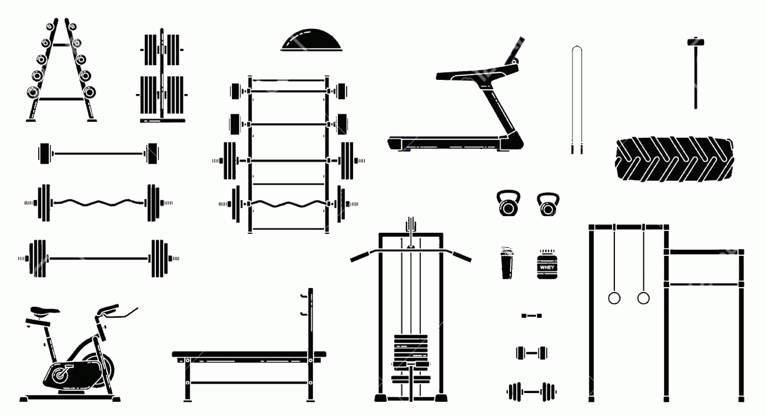 Vector Gym Equipment: Photostock Vector Gym Equipment Set Various Fitness Accessories Collection Bodybuilding And Crossfit Equipement Isolat