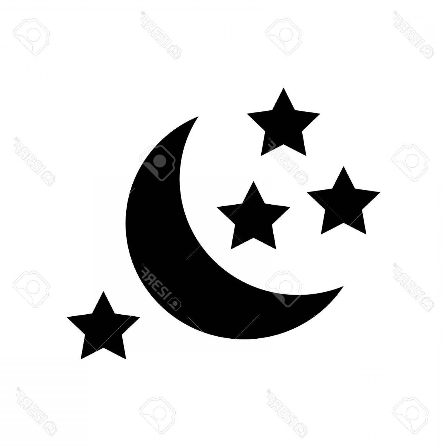 Star And Crescent Moon Vector: Photostock Vector Half Moon And Stars Icon Simple Illustration Of Moon Vector Icon For Web