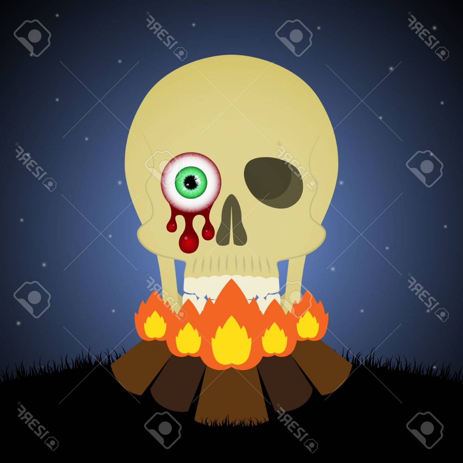 Headless Scary Halloween Skeletons Vectors: Photostock Vector Halloween Festival And Celebration Abstract Background Bonfire With Blood Eyeball Skull Graveyard An
