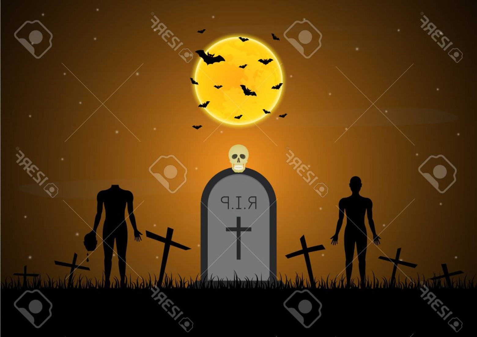 Headless Scary Halloween Skeletons Vectors: Photostock Vector Halloween Festival And Celebration Abstract Background Gravestone Or Tombstone Or Headstone With Gra