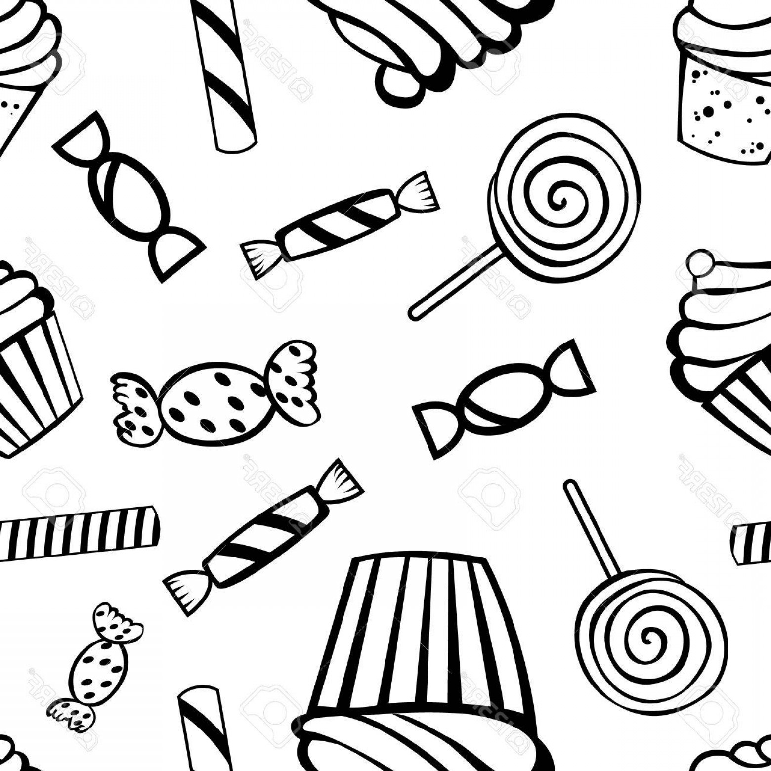 Black And White Candy Vector: Photostock Vector Halloween Fun And Spooky Black And White Pattern With Candies