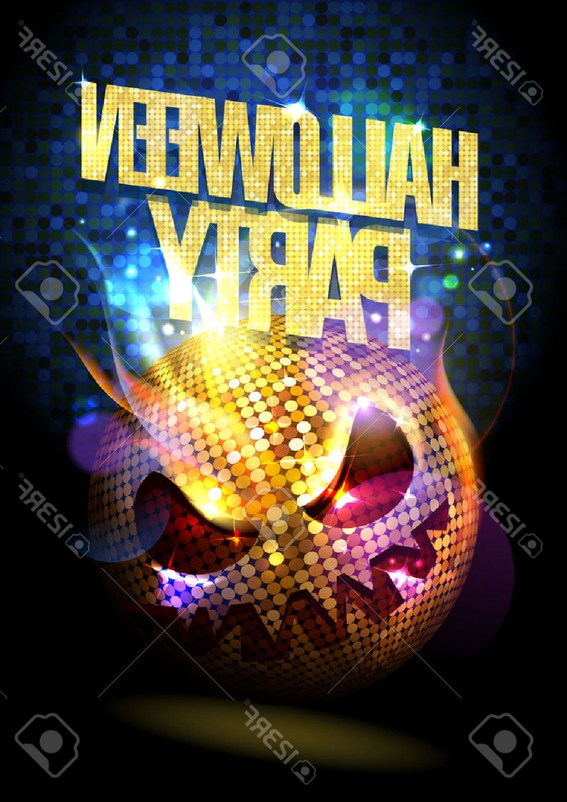 Wicked Musical Logo Vector: Photostock Vector Halloween Party Poster With Spooky Disco Ball