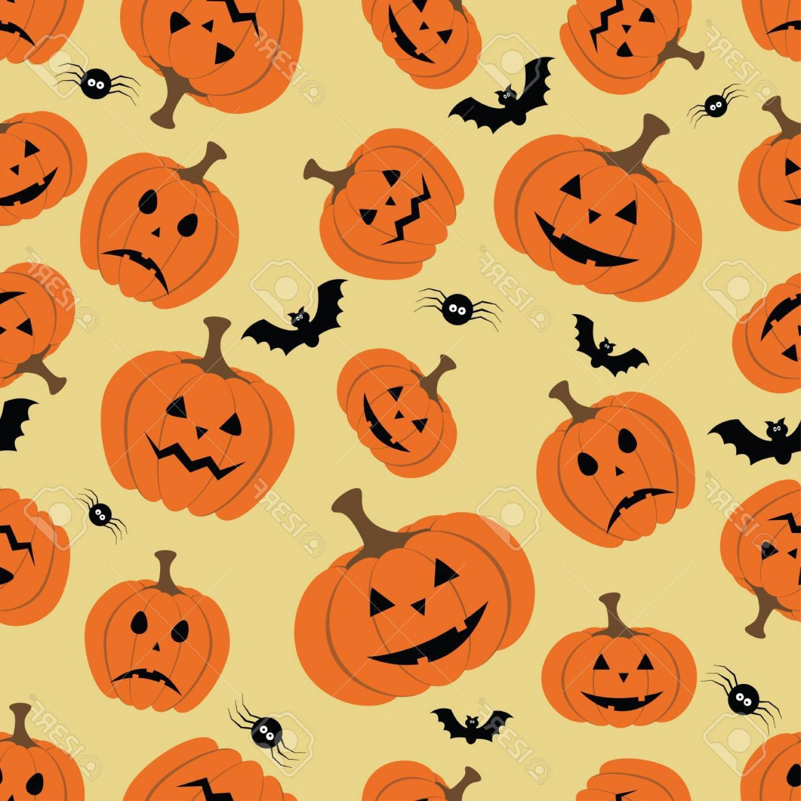 Easy Spider Vector Illustration: Photostock Vector Halloween Seamless Pattern With Pumpkin Bat And Spider Vector File Layered For Easy Manipulation And