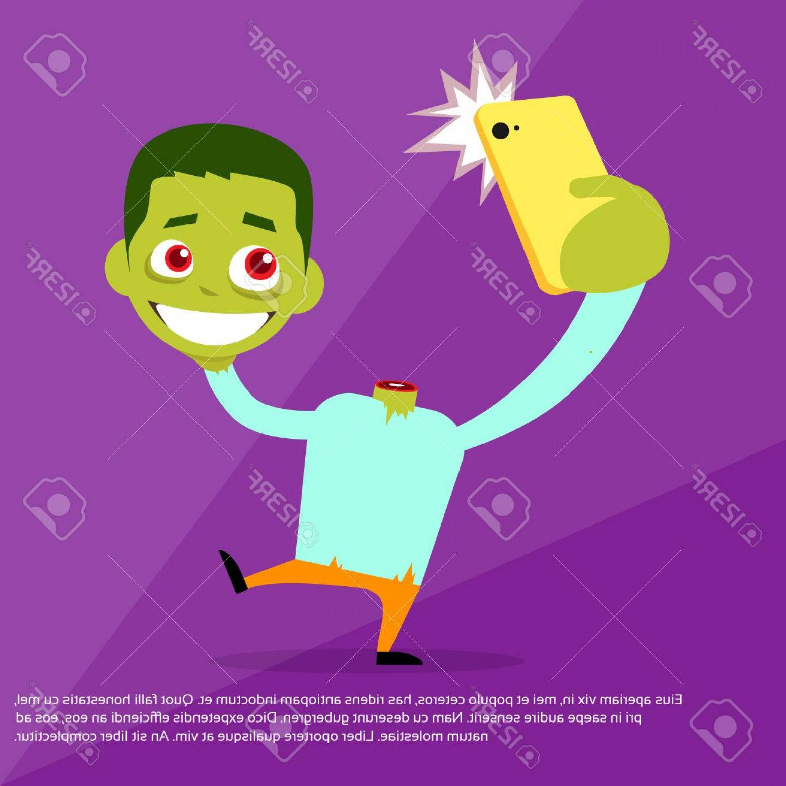 Headless Scary Halloween Skeletons Vectors: Photostock Vector Halloween Selfie Photo Zombie Headless Hold Head In Hand Smart Phone Scary Cartoon Character Smile F