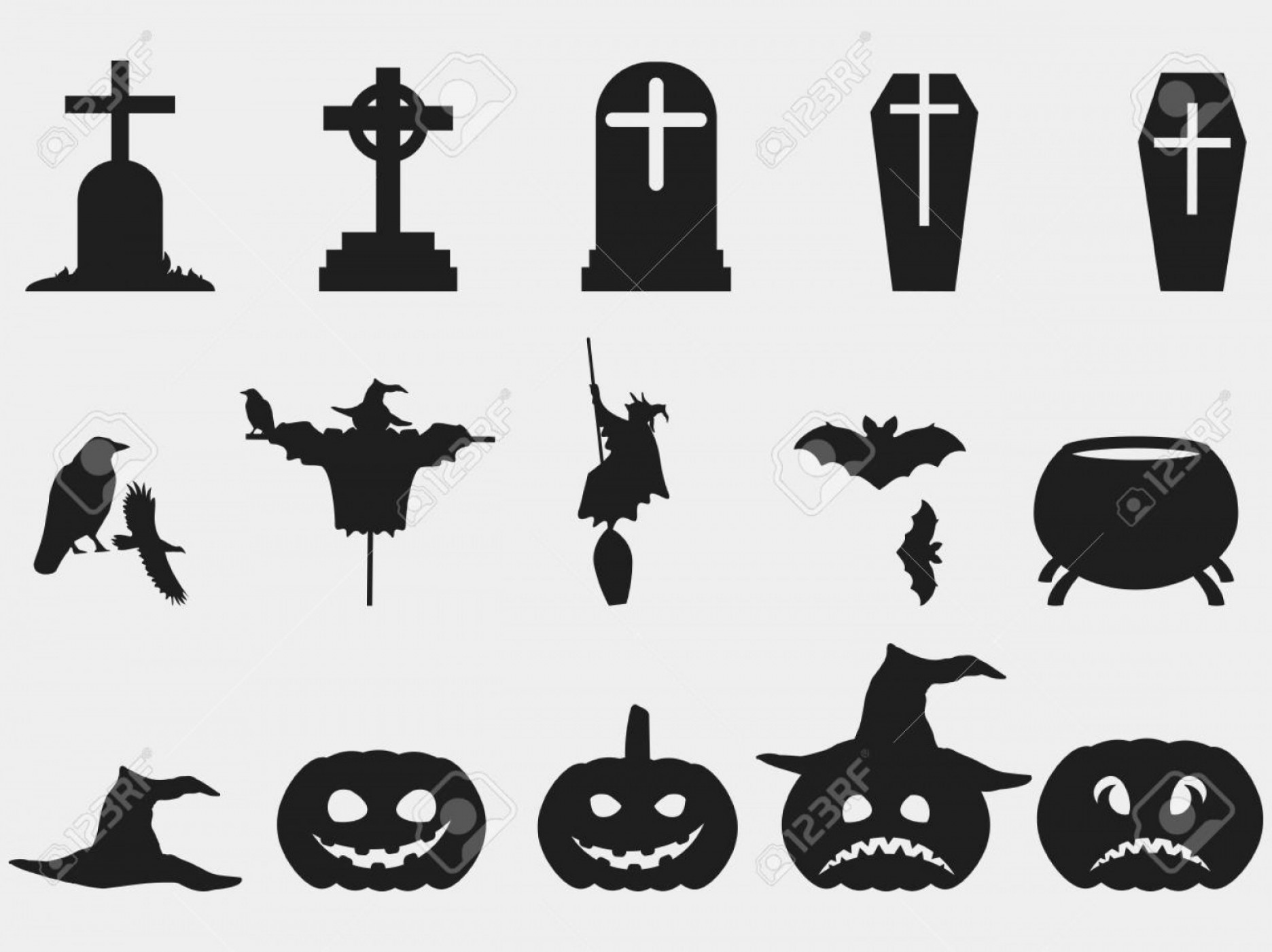 Boba Fett Silhouette Vector: Photostock Vector Halloween Set Of Symbols