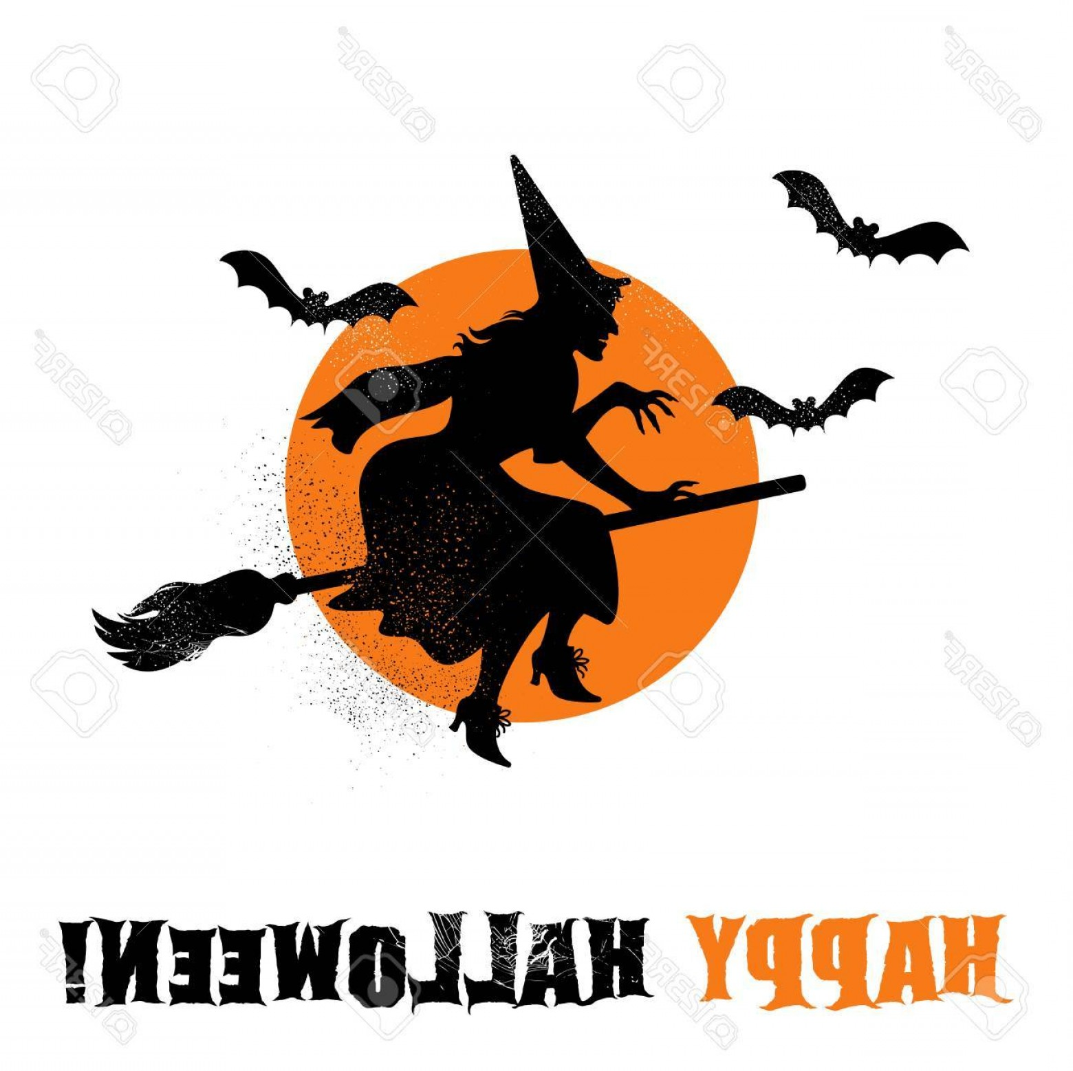 Witch Silhouette Vector: Photostock Vector Halloween Witch Silhouette Vector Illustration