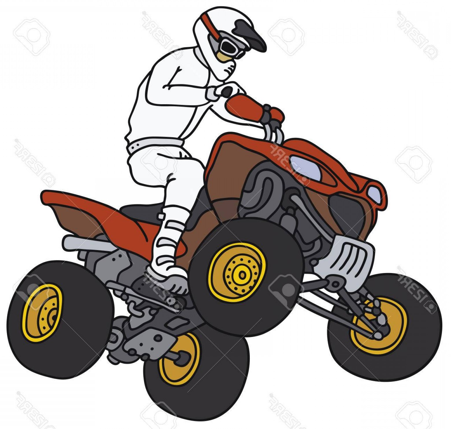 ATV Rider Vector: Photostock Vector Hand Drawing Of A Rider On The Red Atv