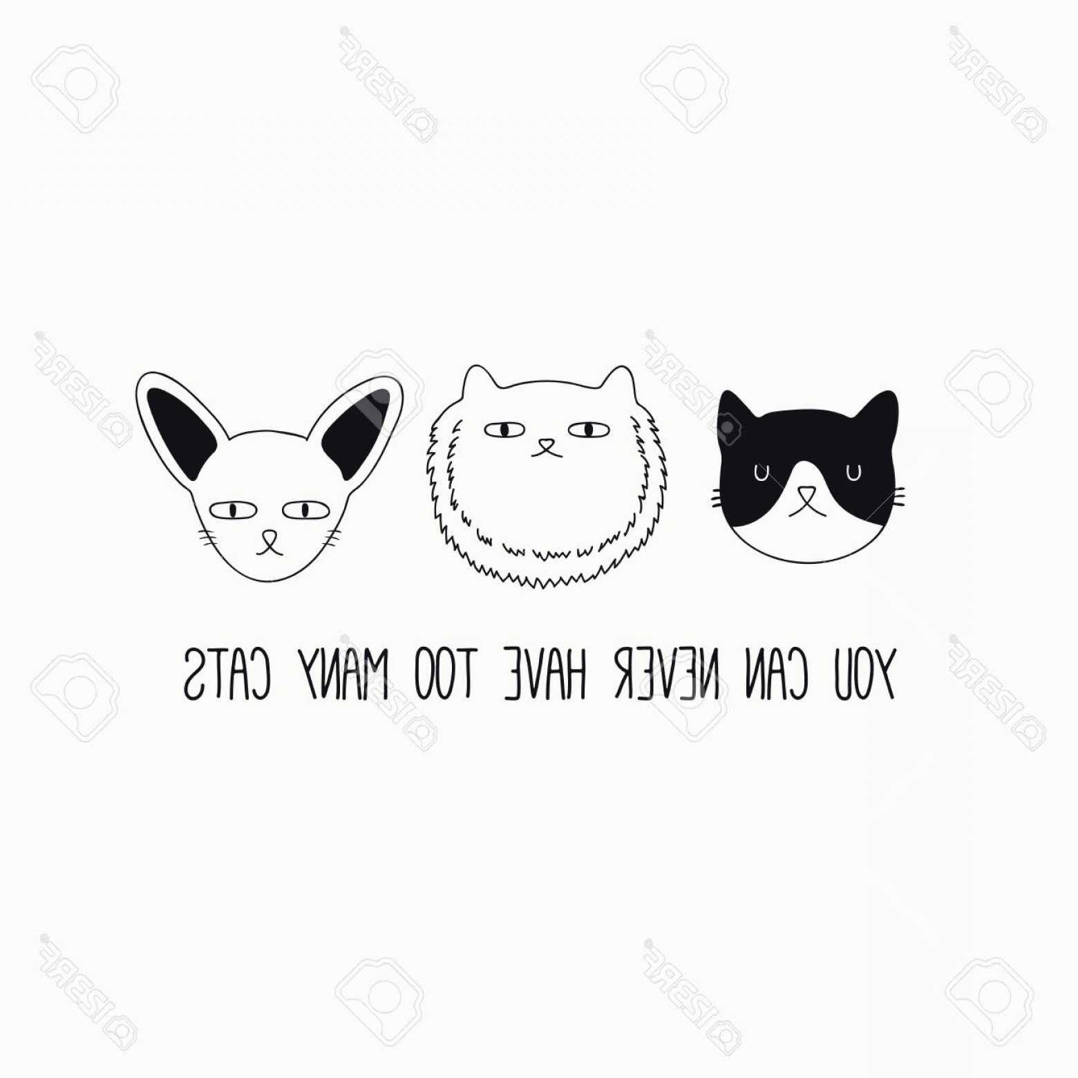 Funny Black And White Vector: Photostock Vector Hand Drawn Black And White Vector Illustration Of A Cute Funny Cat Faces With Quote You Can Never Ha