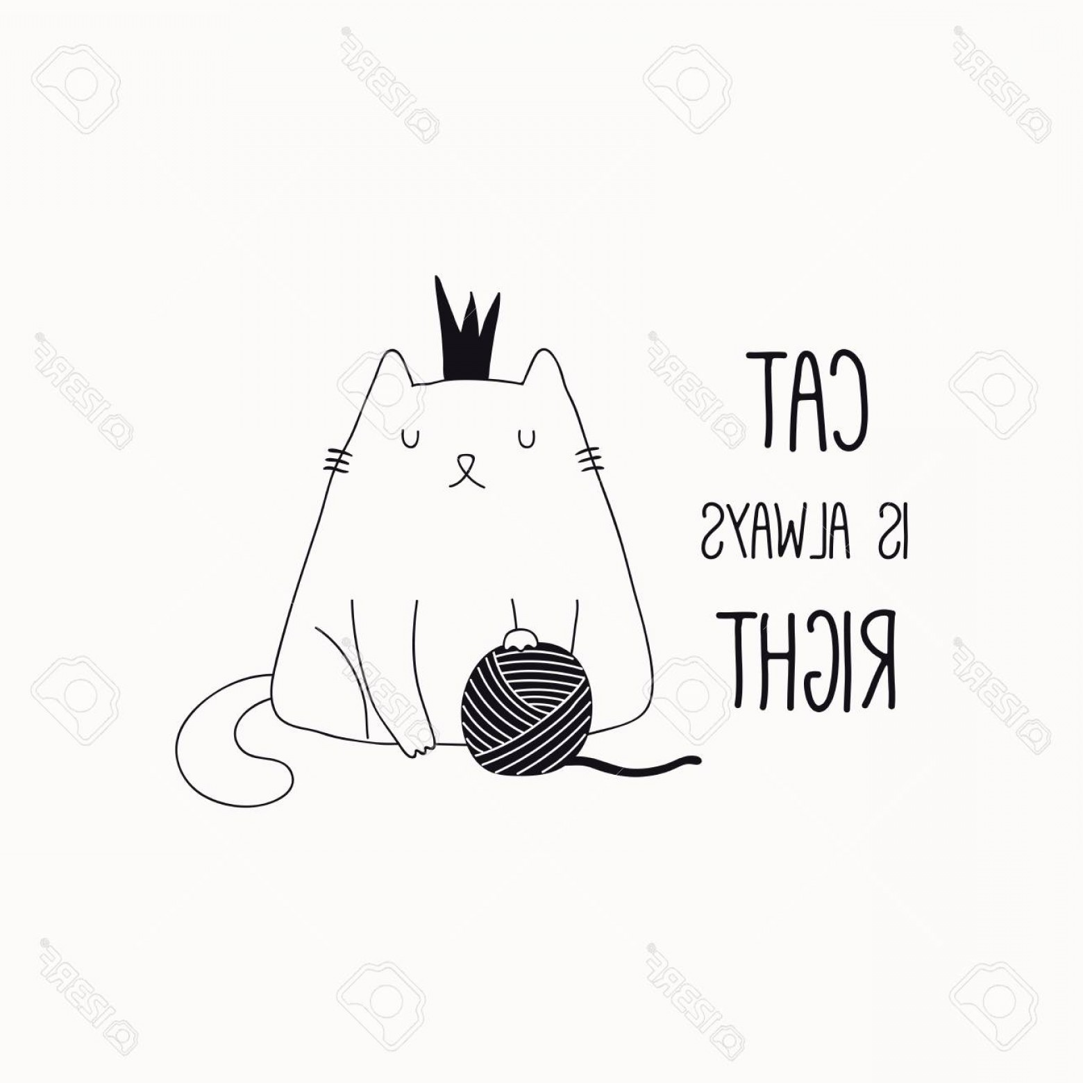 Funny Black And White Vector: Photostock Vector Hand Drawn Black And White Vector Illustration Of A Cute Funny Cat In A Crown With Yarn Ball Quote C