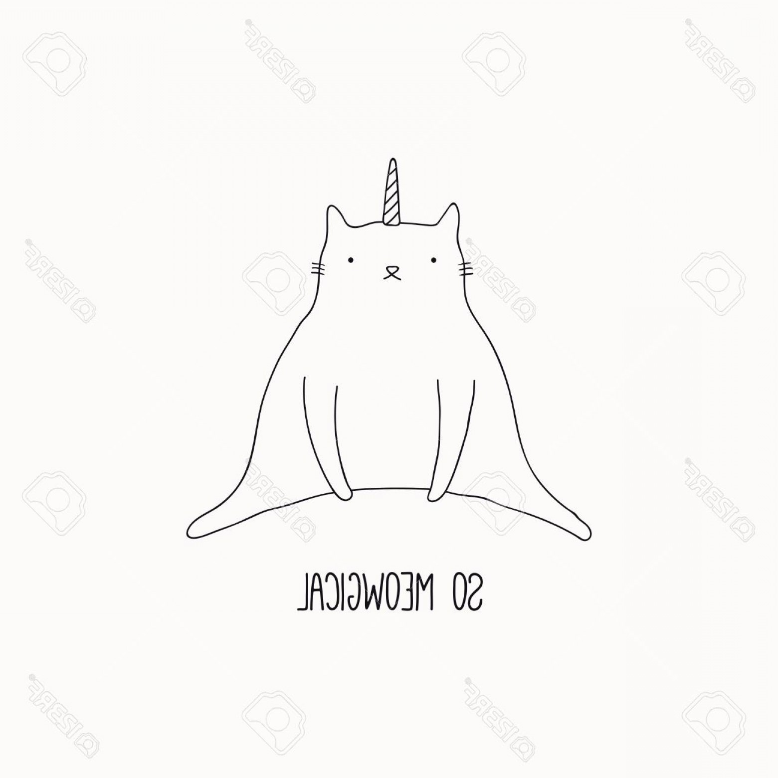 Funny Black And White Vector: Photostock Vector Hand Drawn Black And White Vector Illustration Of A Cute Funny Cat With Unicorn Horn Sitting With Qu
