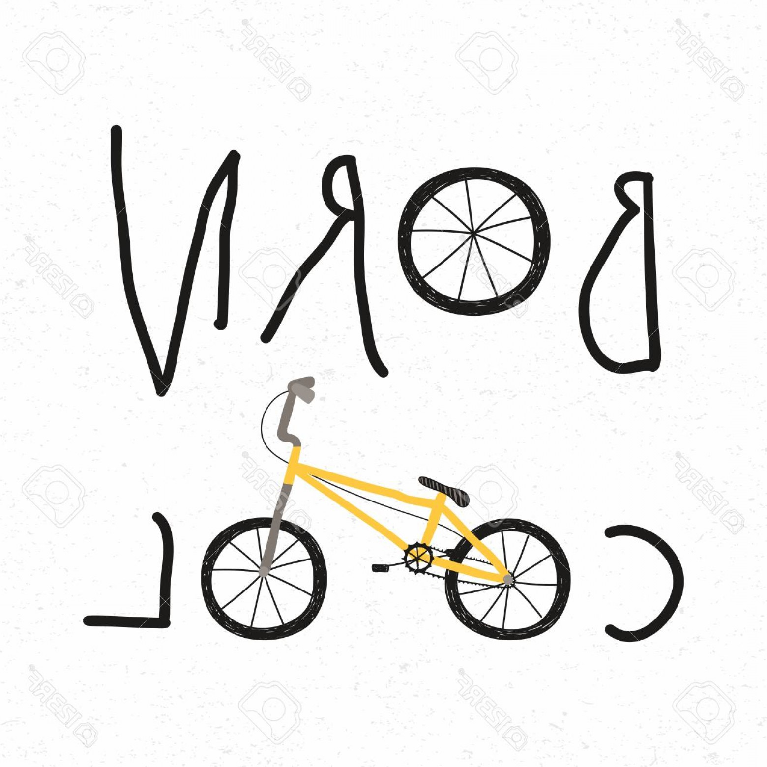 BMX Bike Tire Vector: Photostock Vector Hand Drawn Childish Vector Illustration Of A Bmx Bicycle With Quote Born Cool Isolated Objects On Wh