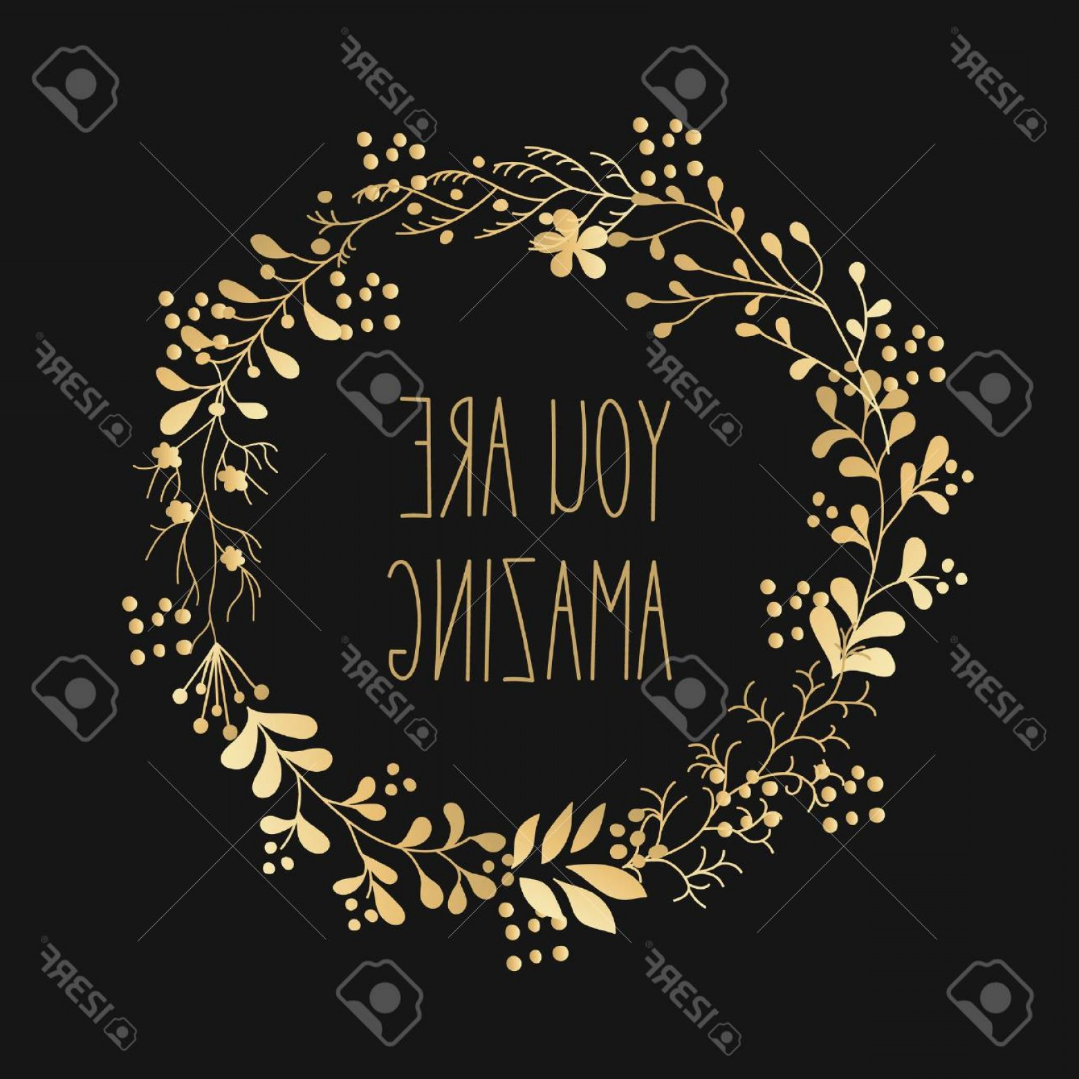 Floral Vector Calligraphy: Photostock Vector Hand Drawn Gold Flowers Wreath Cute Colorful Vector Winter Flowers For Postcard And Poster Modern De